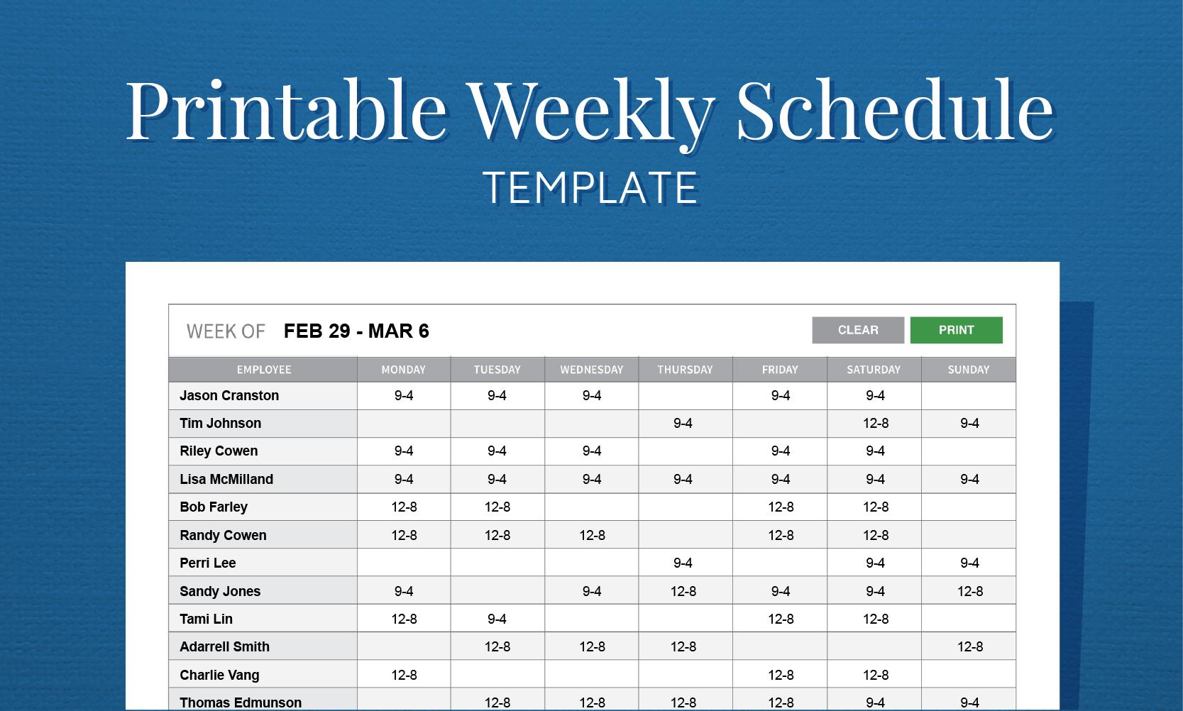 Free Printable Weekly Work Schedule Template For Employee Scheduling - Free Printable Work Schedule Maker