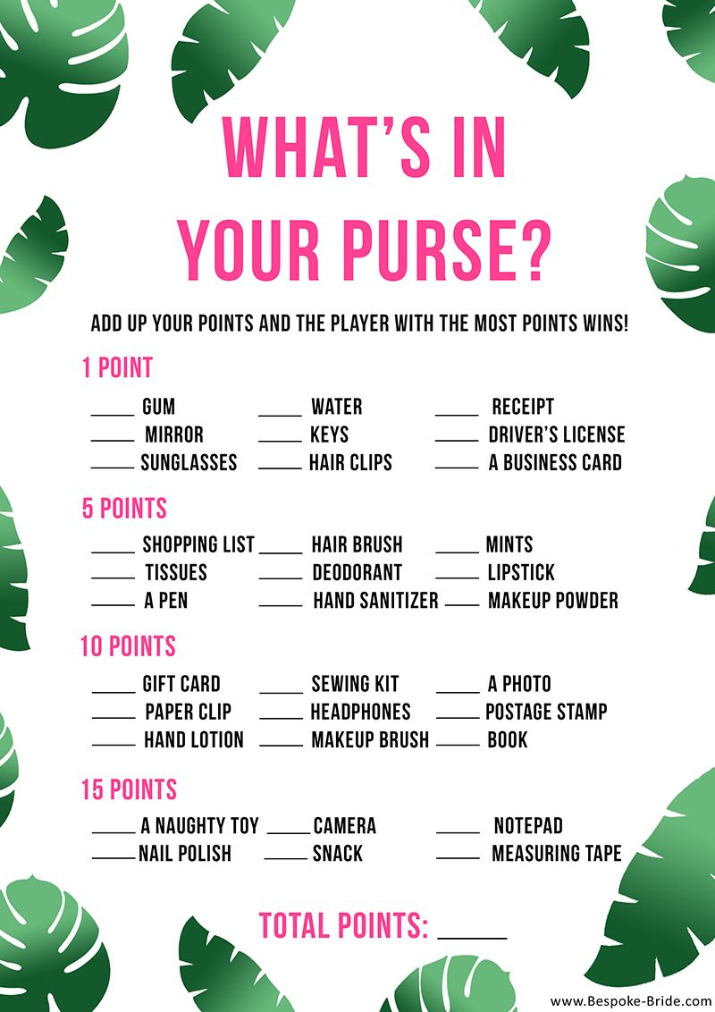 Free Printable 'what's In Your Purse?' Hen Party & Bridal Shower - Free Printable Bridal Shower Games What's In Your Purse