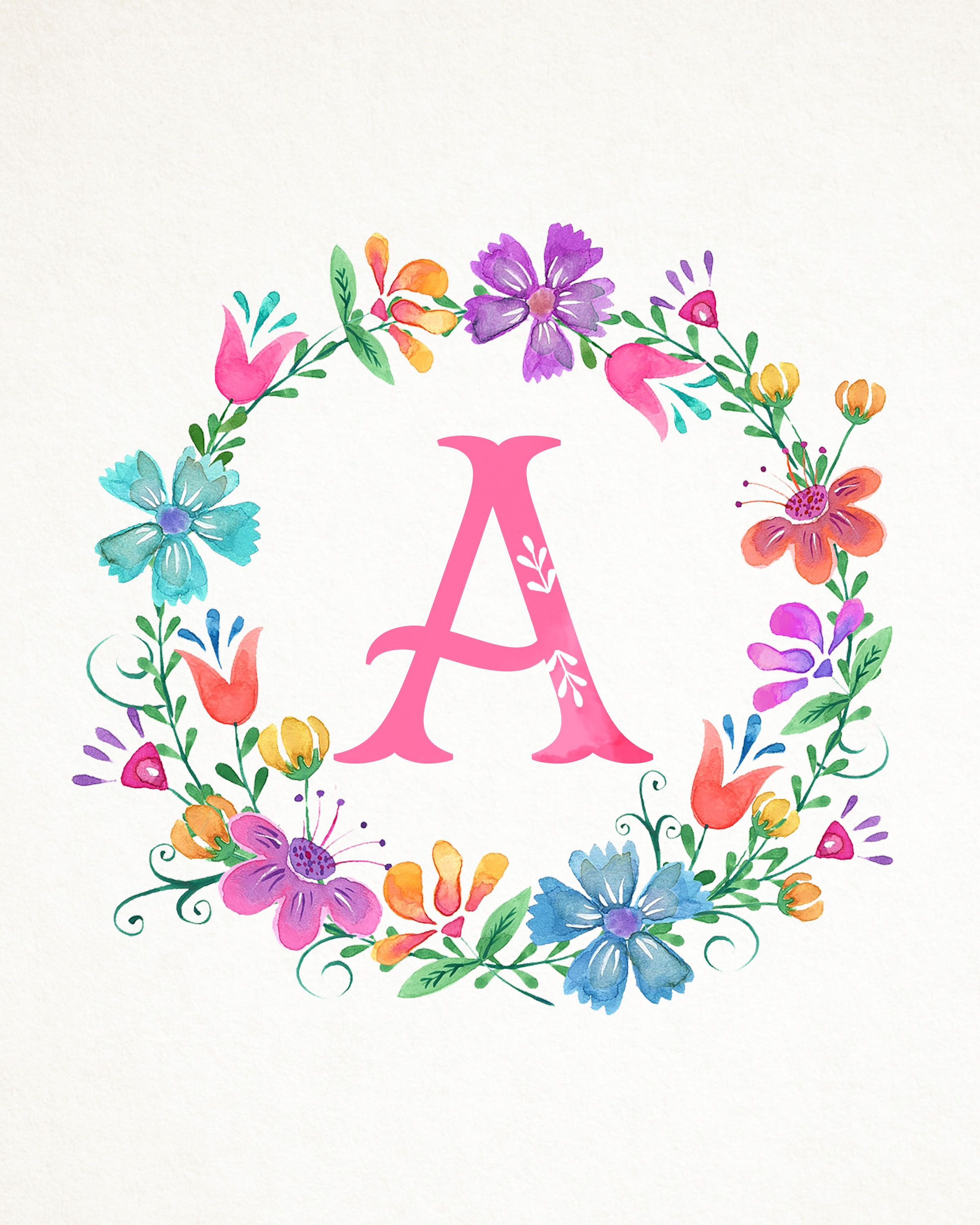 Free Printable Whimsical Watercolor Monograms | Tarjetas Y Etiquetas - Free Printable Flower Letters