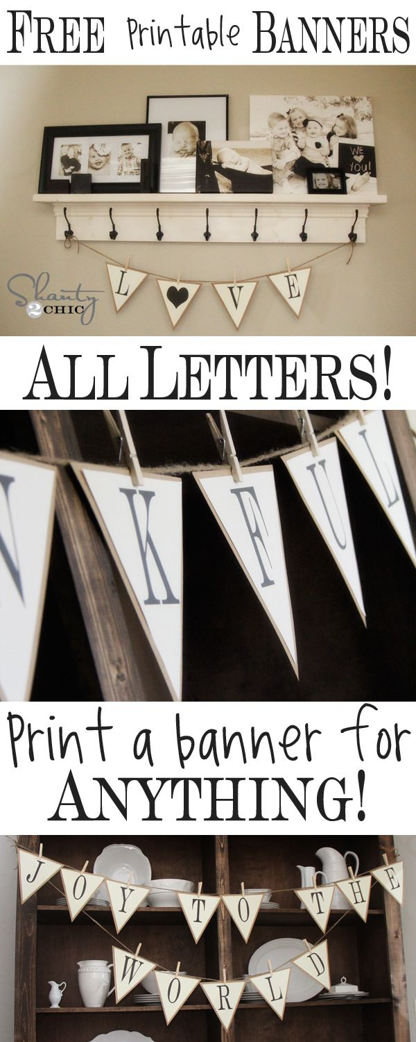 Free Printable – Whole Alphabet Banner!! | D.i.y Projects I May Or - Free Printable Banner Maker