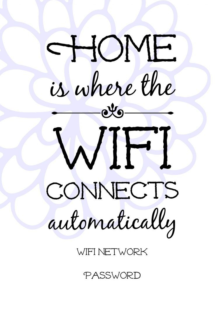 Free Printable Wifi Sign, Guest Room Ideas. | Wifi Projects - Free Printable Wifi Sign