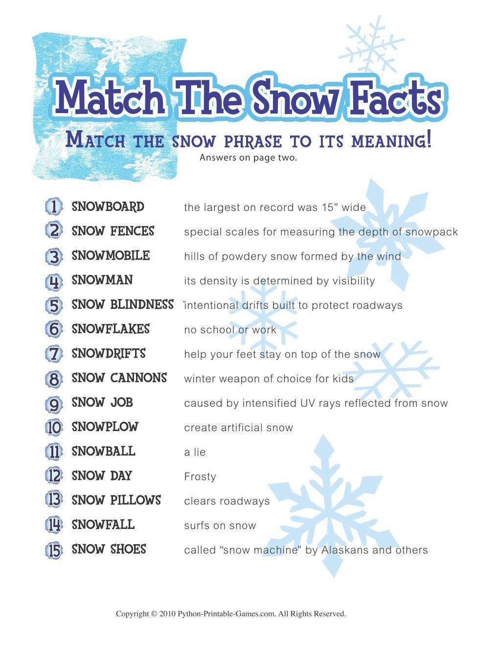 Free Printable Winter Game Match The Snow Facts Download | Winter - Free Printable Trivia Questions For Seniors
