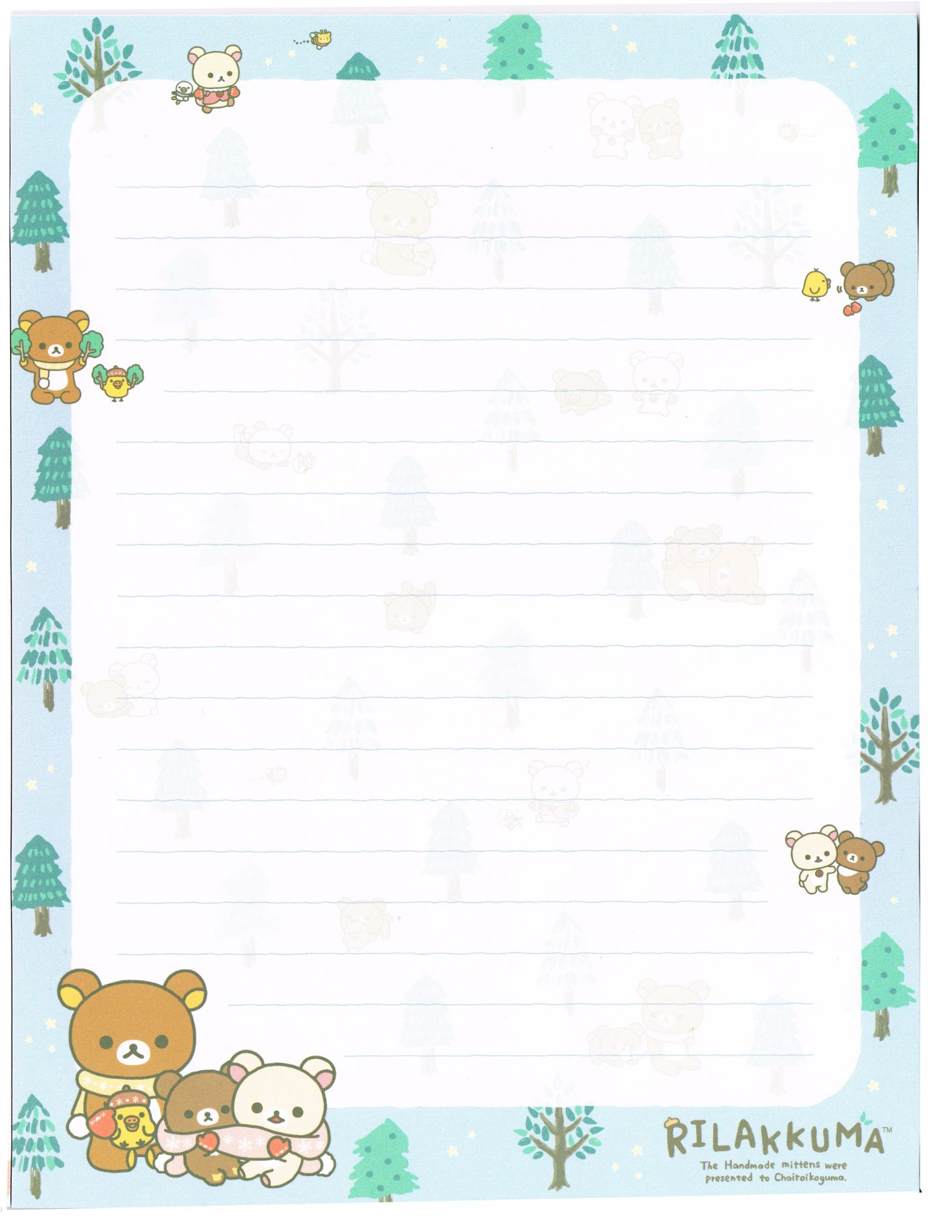 Free Printable Winter Nordic Forest Writing Memo Pad Sheet Rilakkuma - Free Printable Winter Stationery