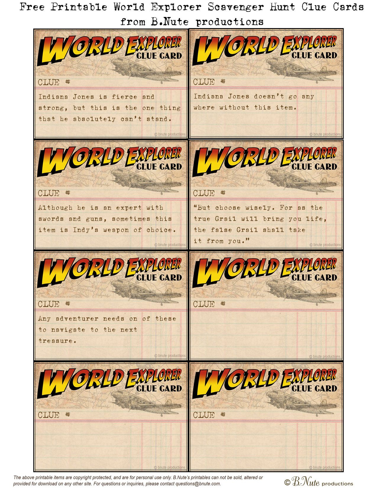 Free Printable World Explorer Indiana Jones Scavenger Hunt Game - Free Printable Treasure Hunt Games