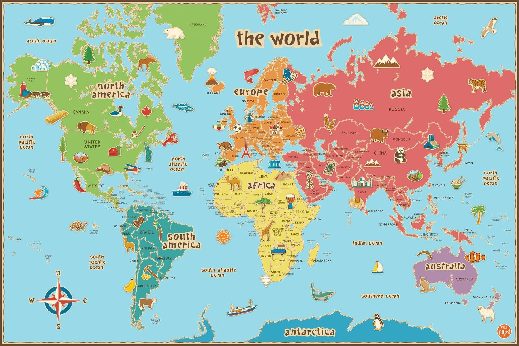 Free Printable World Map For Kids Maps And | Gary's Scattered Mind - Free Printable Custom Maps
