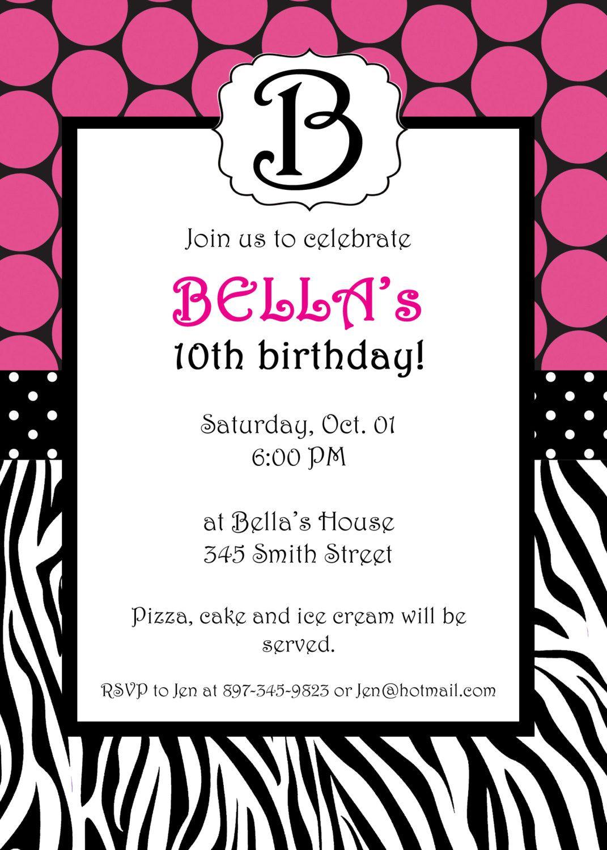 Free Printable Zebra Print Invitations Baby Shower   Emma - Free Printable Zebra Print Birthday Invitations