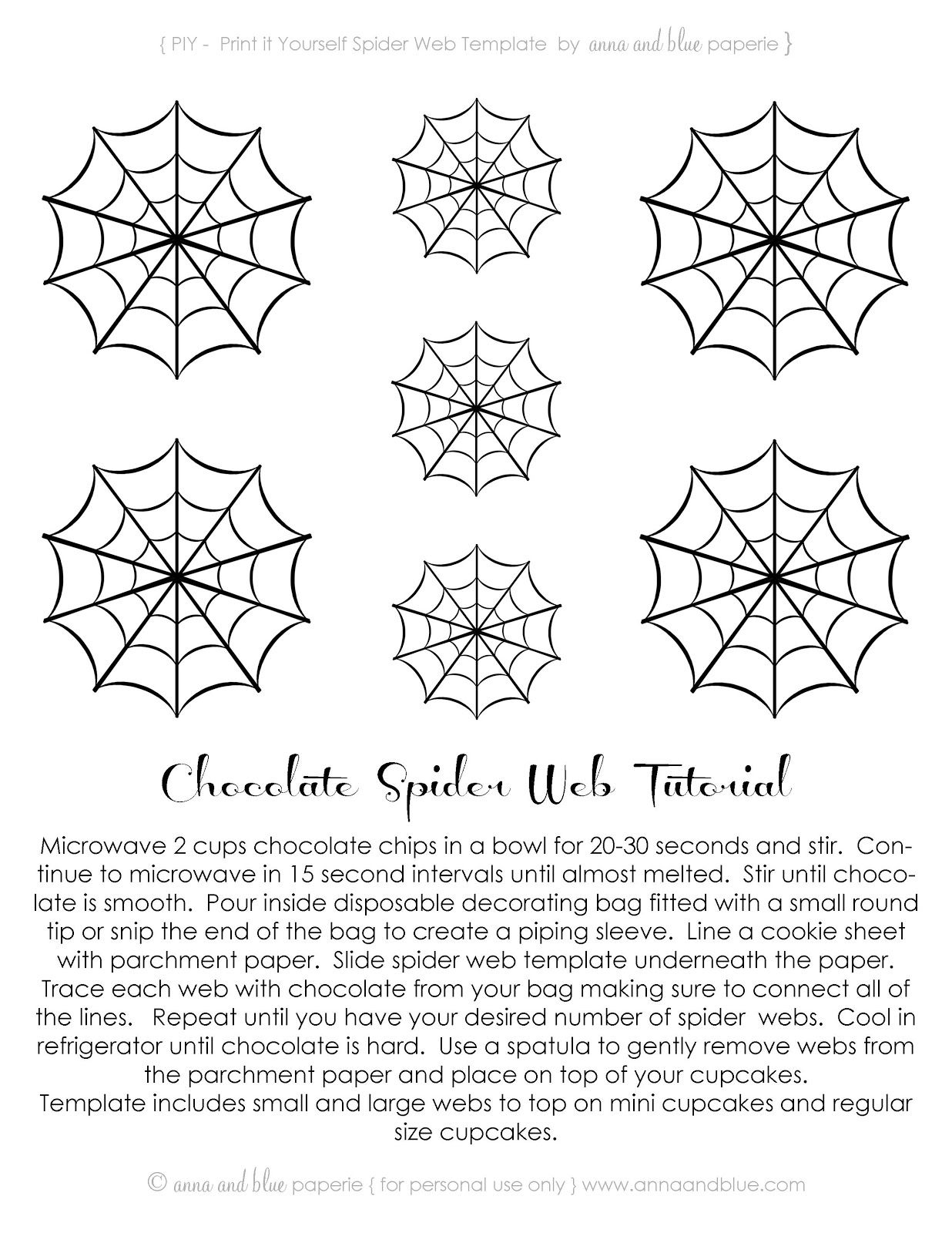 Free Printable~Chocolate Spider Web-Tutorial .<3Anna And Blue - Spider Web Stencil Free Printable