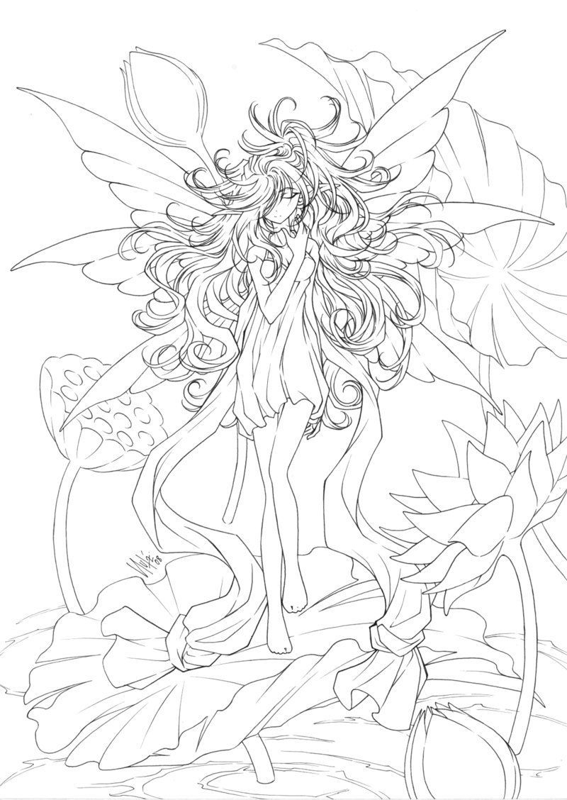 Free Printables: Almost Anime Fairy Coloring Page   Printables - Free Printable Coloring Pages For Adults Dark Fairies