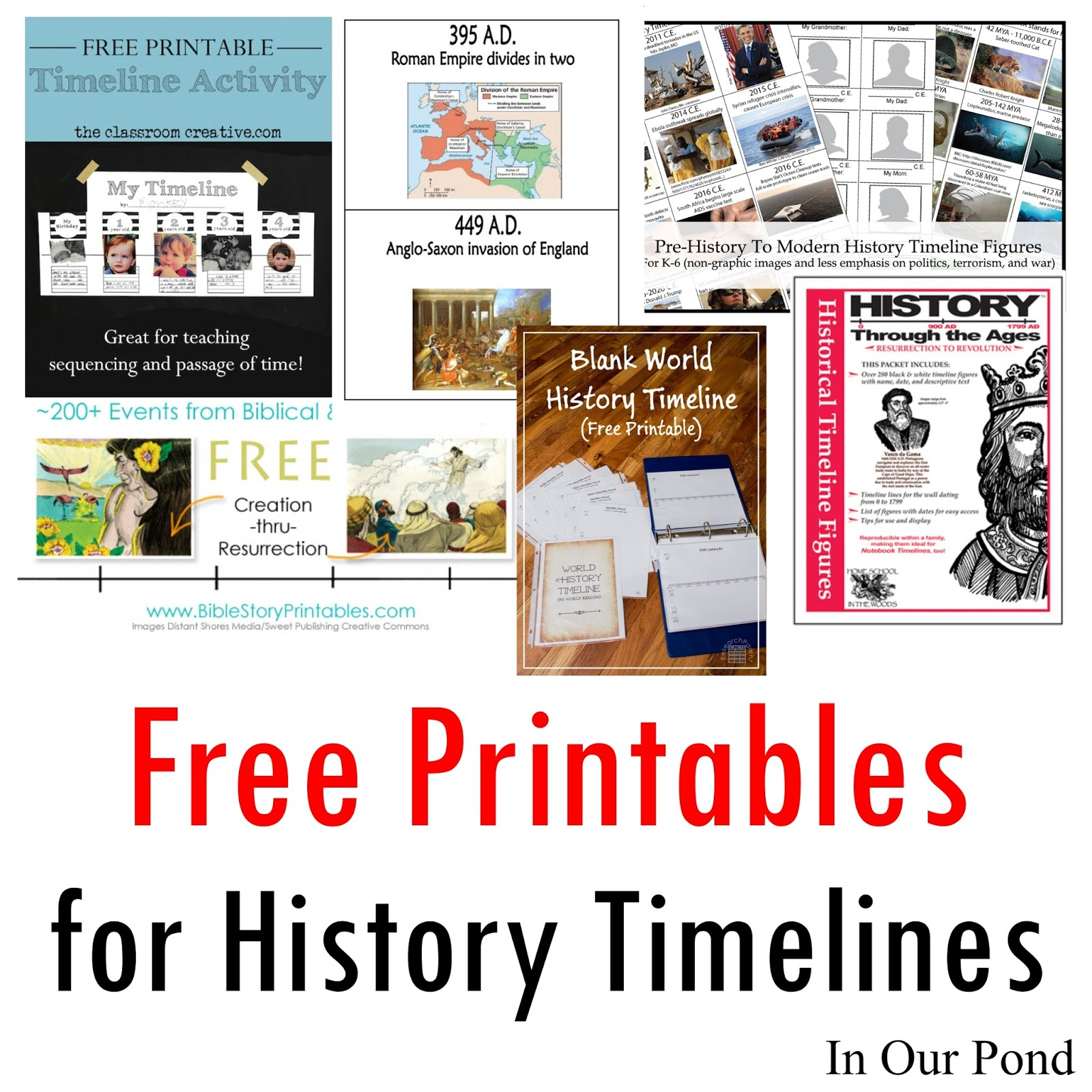 Free Printables For History Timelines - In Our Pond - Free Printable Timeline Figures