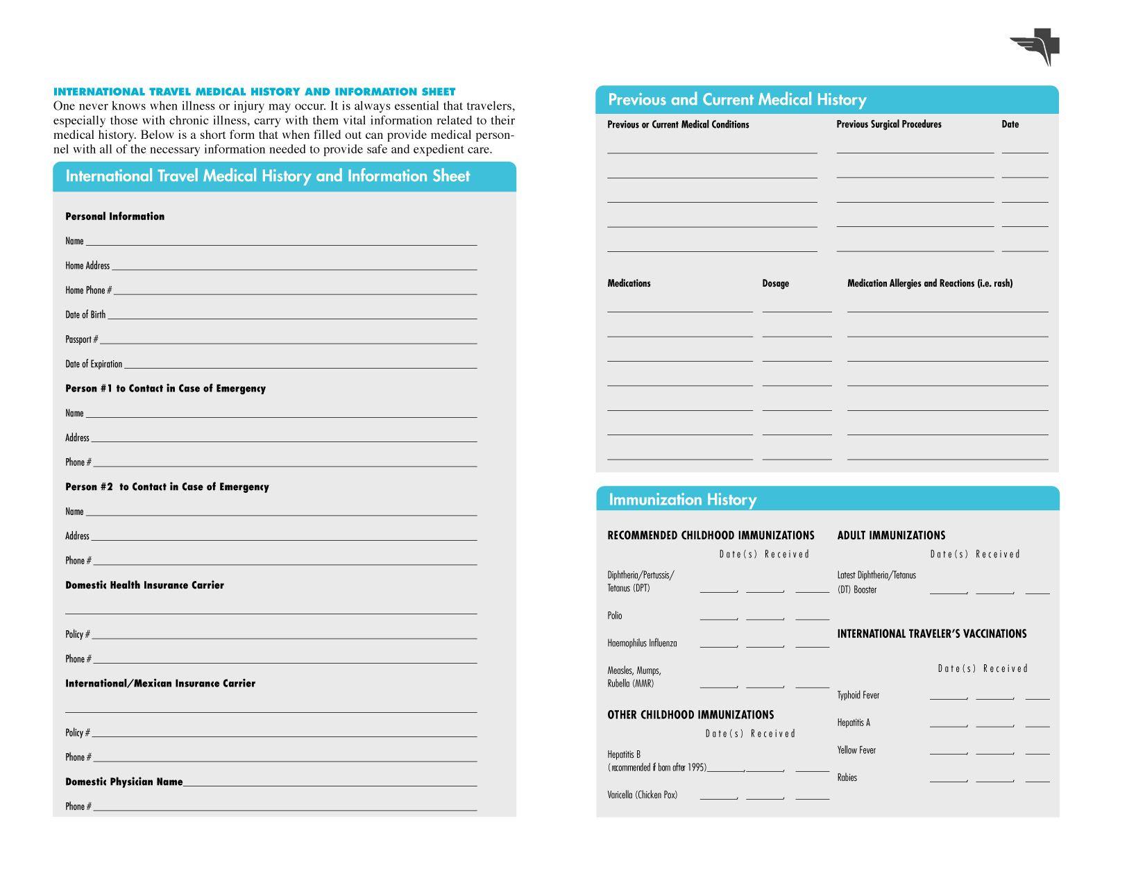 Free Printables | Free Printable Family Medical History Forms - Free Printable Medical History Forms