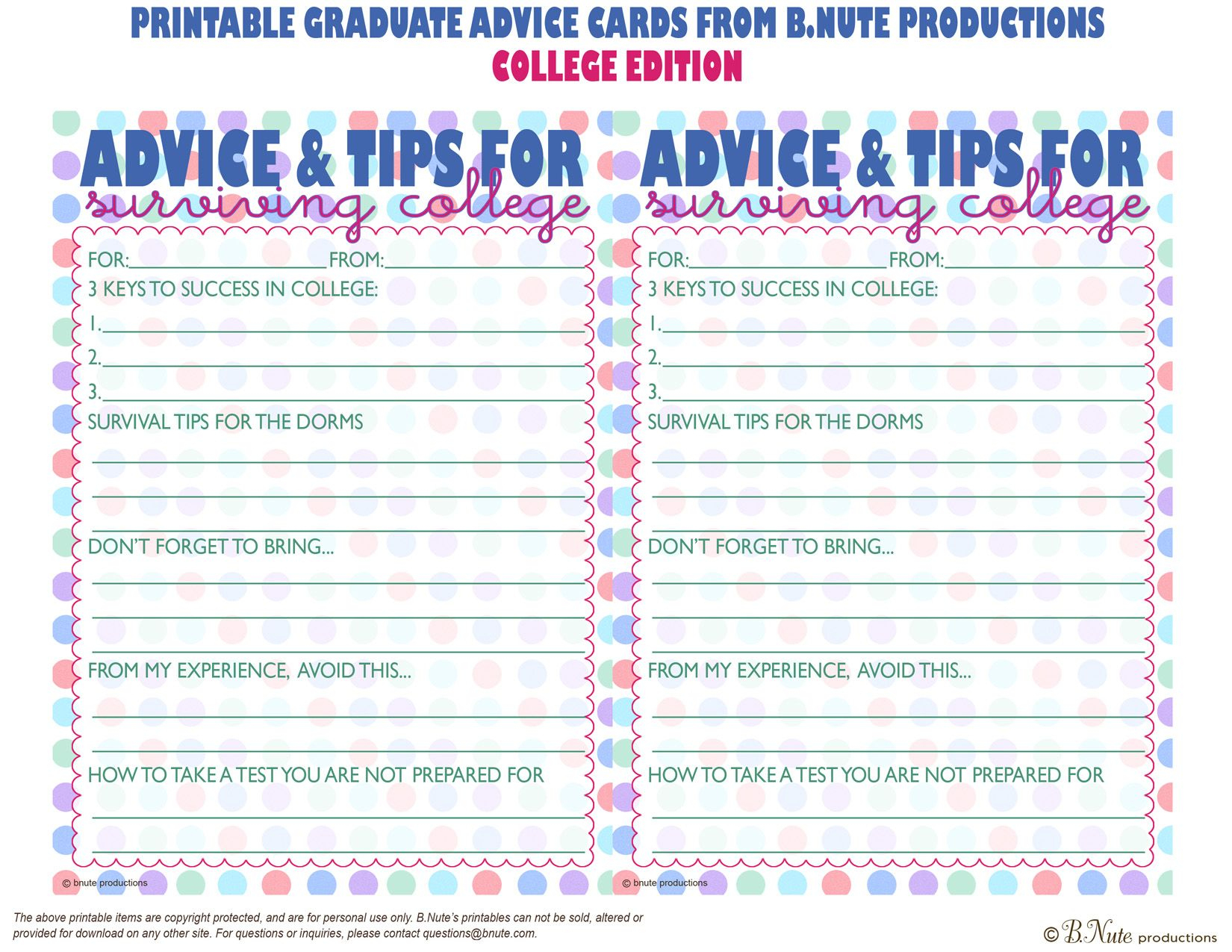 Free Printables | Free Printable Graduate Advice Cards - College - Free Printable Graduation Advice Cards