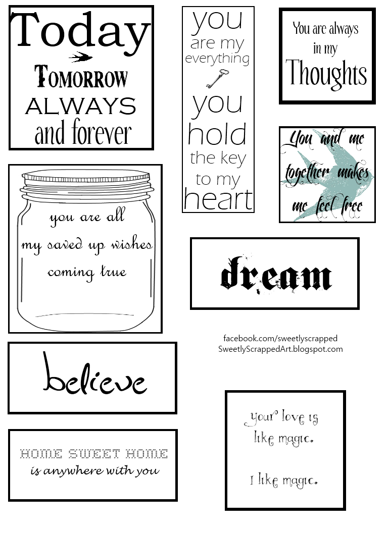 Free Printables - Great Additions To Scrapbooks & Smash Books - Free Printable Greeting Card Sentiments