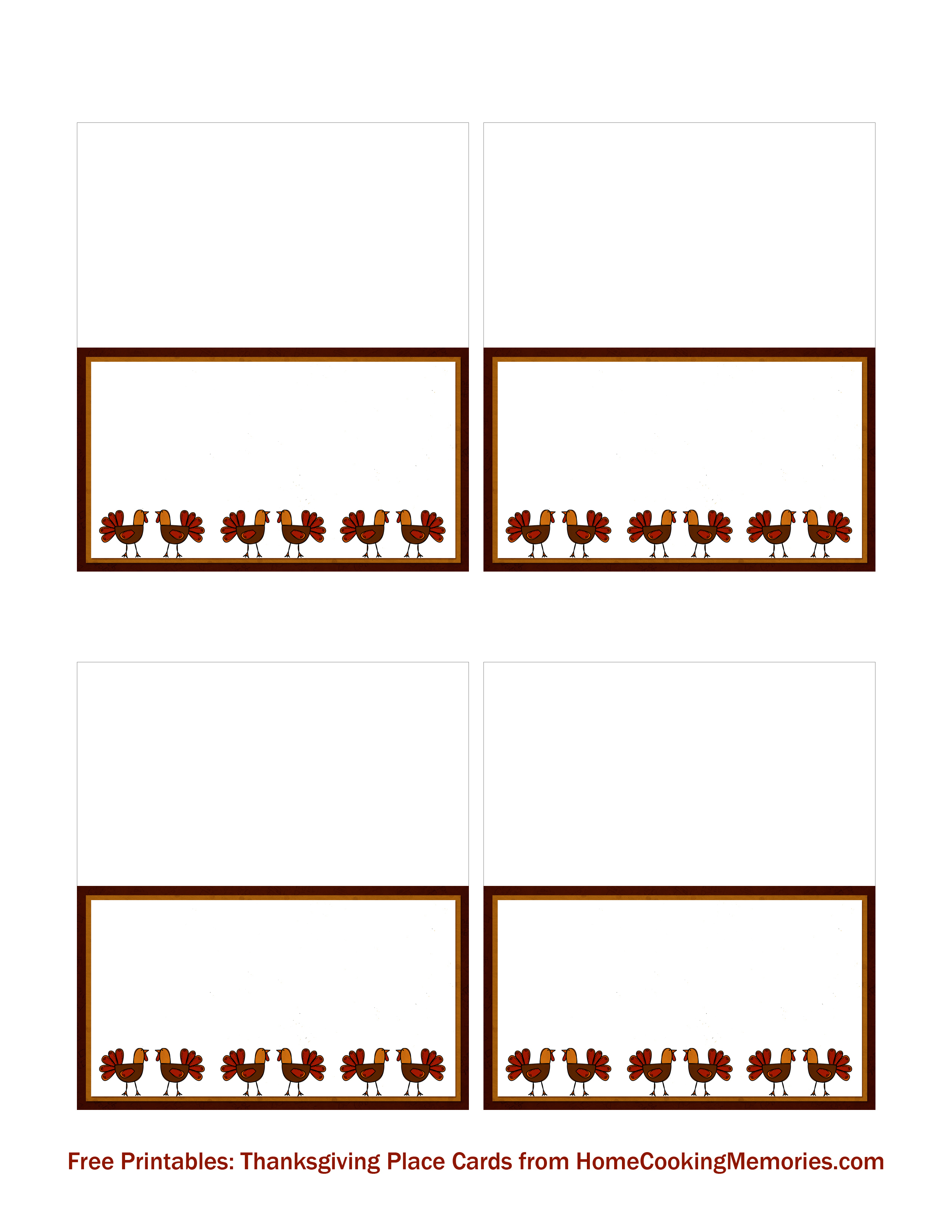 Free Printables: Thanksgiving Place Cards - Home Cooking Memories - Free Printable Thanksgiving Place Cards To Color