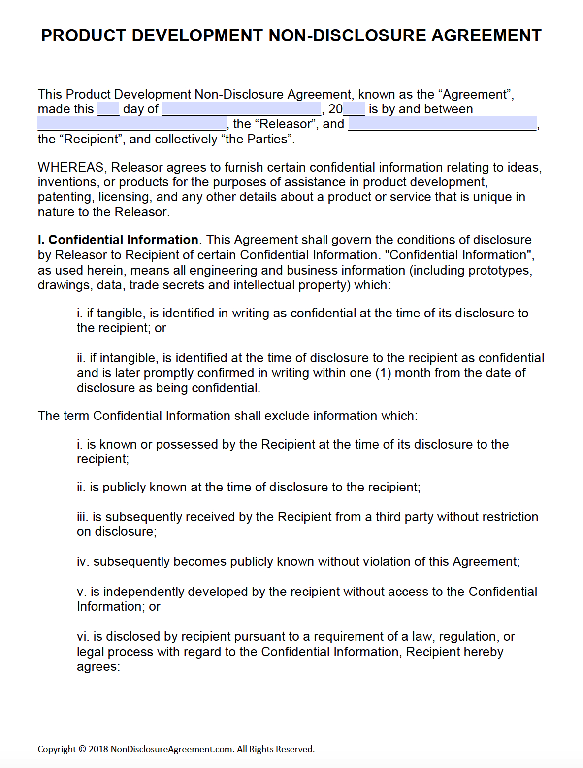 Free Product Development Non-Disclosure Agreement (Nda) – Pdf – Word - Free Printable Non Disclosure Agreement Form