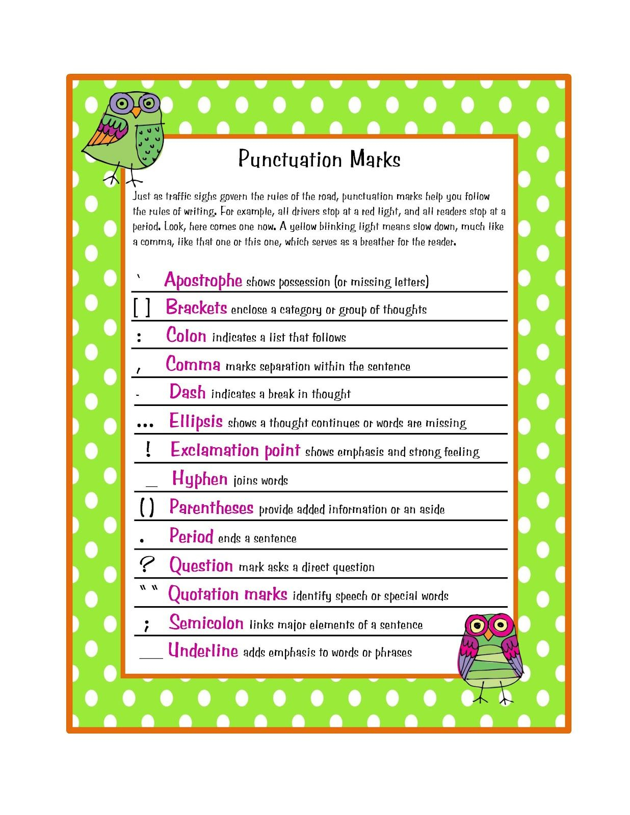 Free Punctuation Marks Poster | Preschool Printablesgwyn - Punctuation Posters Printable Free