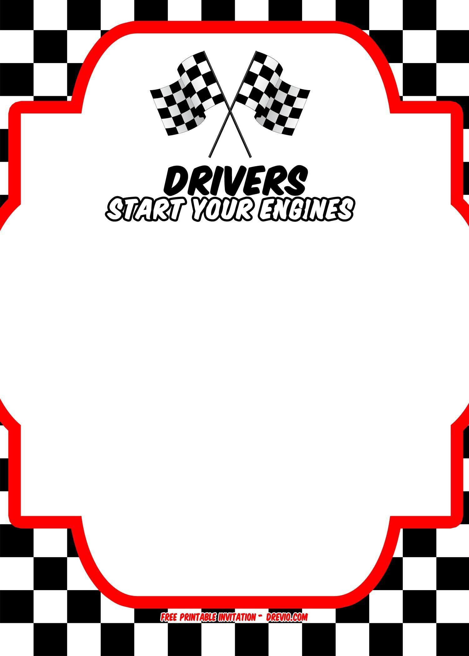 Free Race Car Birthday Invitation Template - | Free Printable - Motorcycle Invitations Free Printable