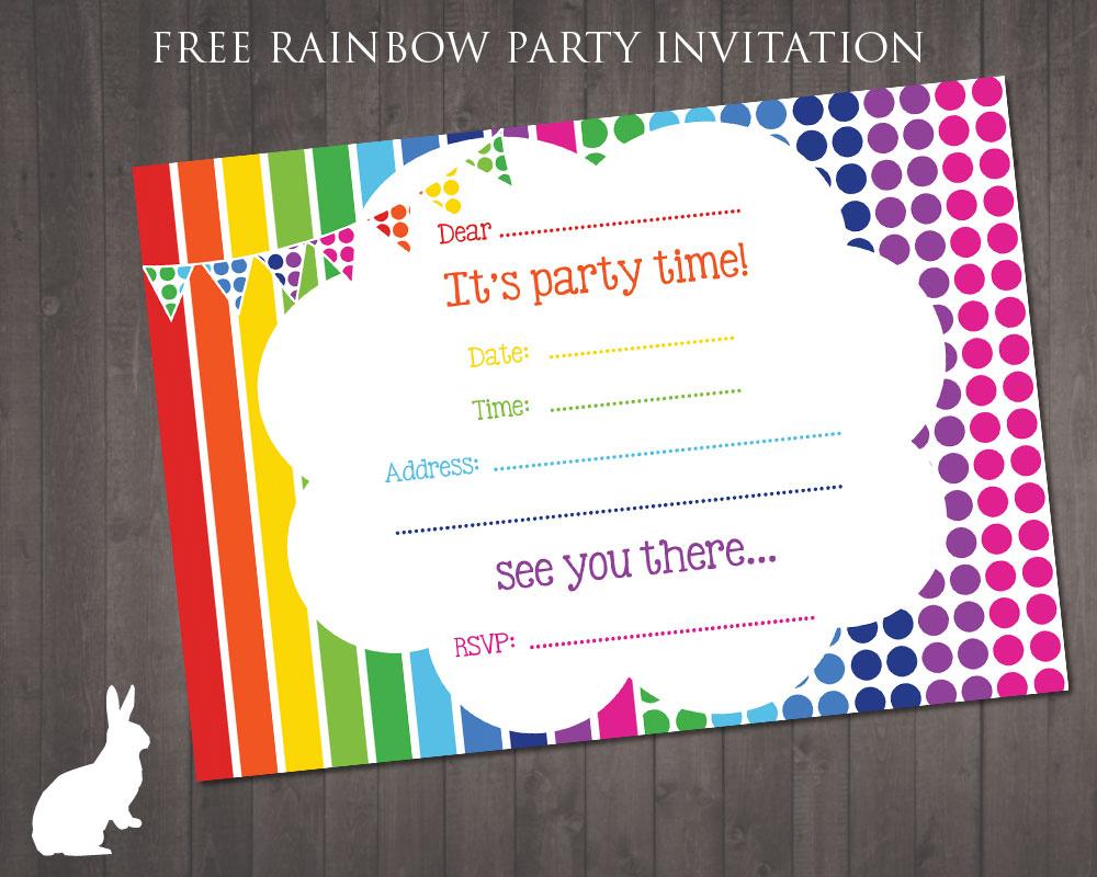 Free Rainbow Party Invitation   Free Party Invitationsruby And - Free Printable Party Invitations