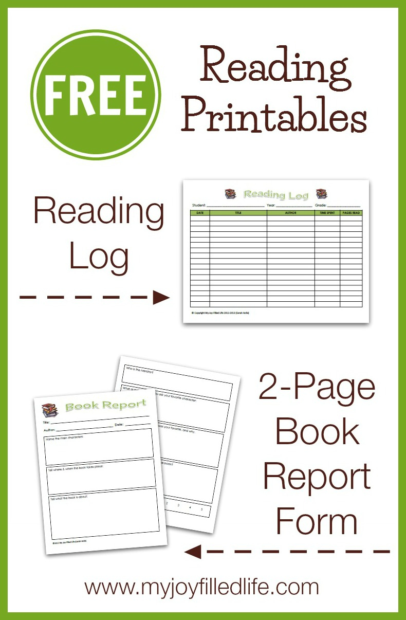 Free Reading Log & Book Report Form - My Joy-Filled Life - Free Printable Book Report Forms
