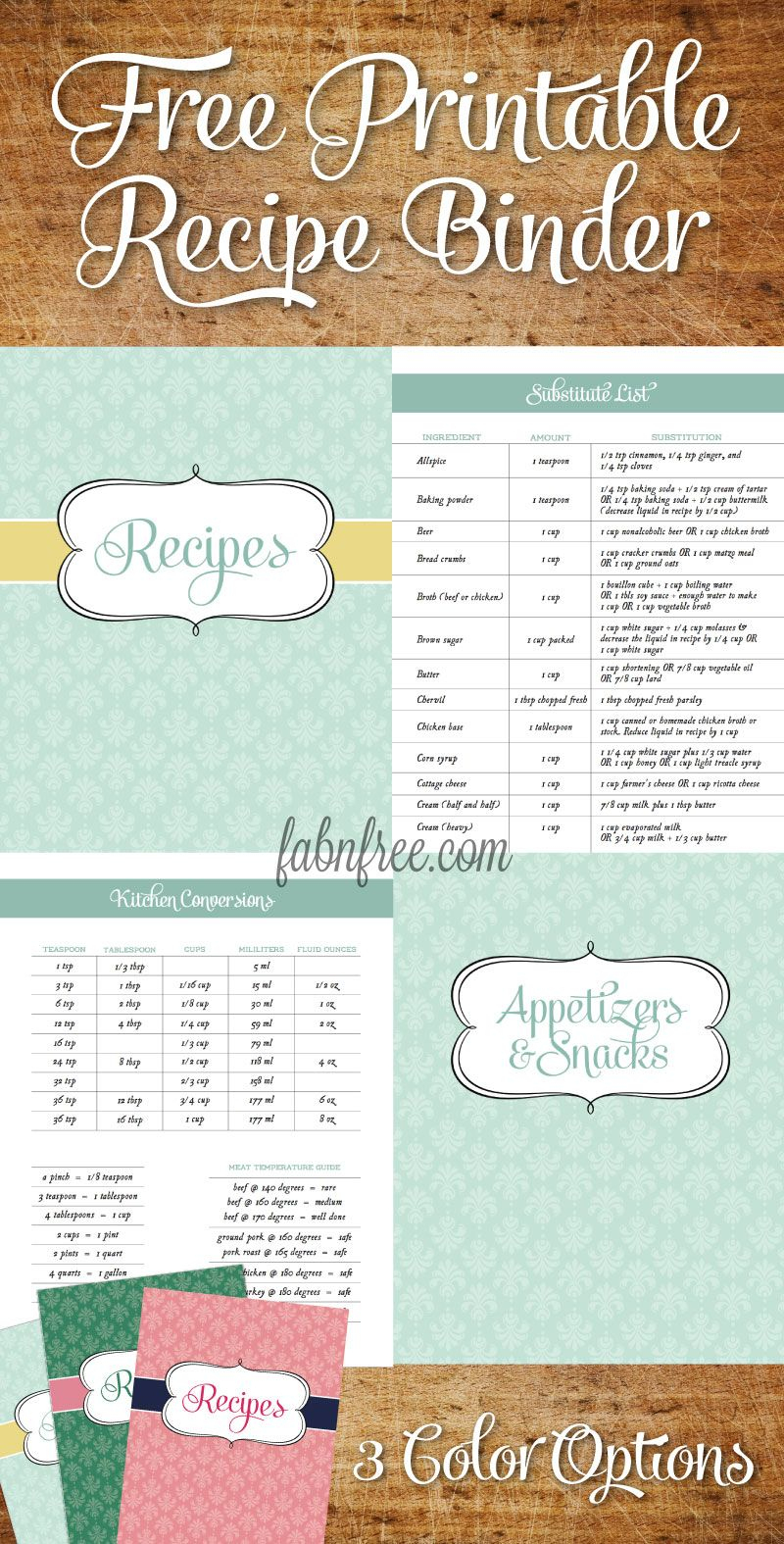 Free Recipe Binder In 3 Color Options | Recipe Binder Ideas - Free Printable Recipe Book Pages