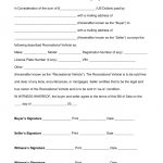Free Recreational Vehicle (Rv) Bill Of Sale Form   Word | Pdf   Free Printable Blank Auto Bill Of Sale