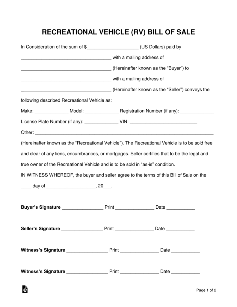 Free Recreational Vehicle (Rv) Bill Of Sale Form - Word | Pdf - Free Printable Blank Auto Bill Of Sale