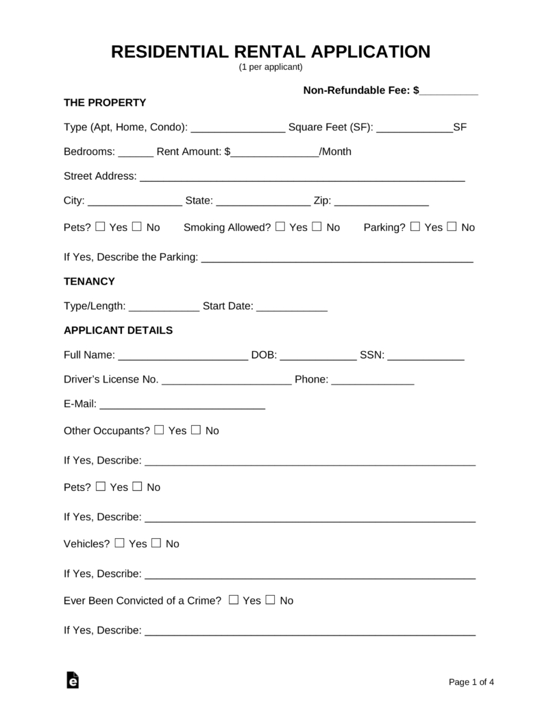 Free Rental Application Form - Pdf | Word | Eforms – Free Fillable Forms - Free Printable Landlord Forms