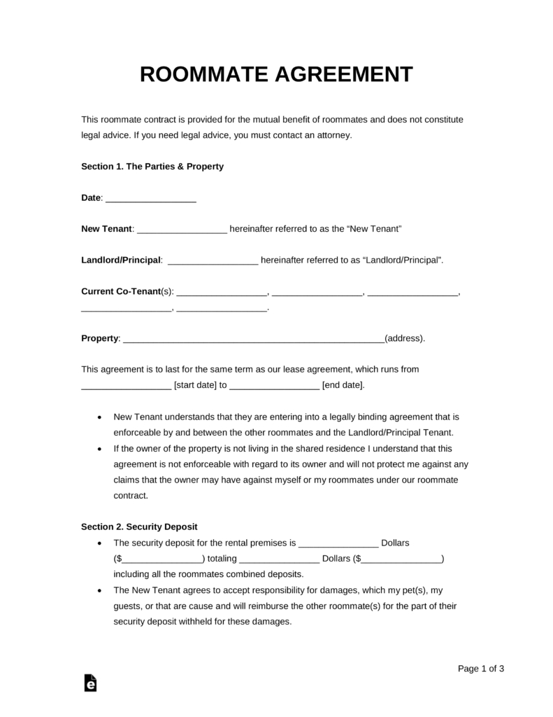 Free Roommate (Room Rental) Agreement Template - Pdf | Word | Eforms - Free Printable Room Rental Agreement Forms