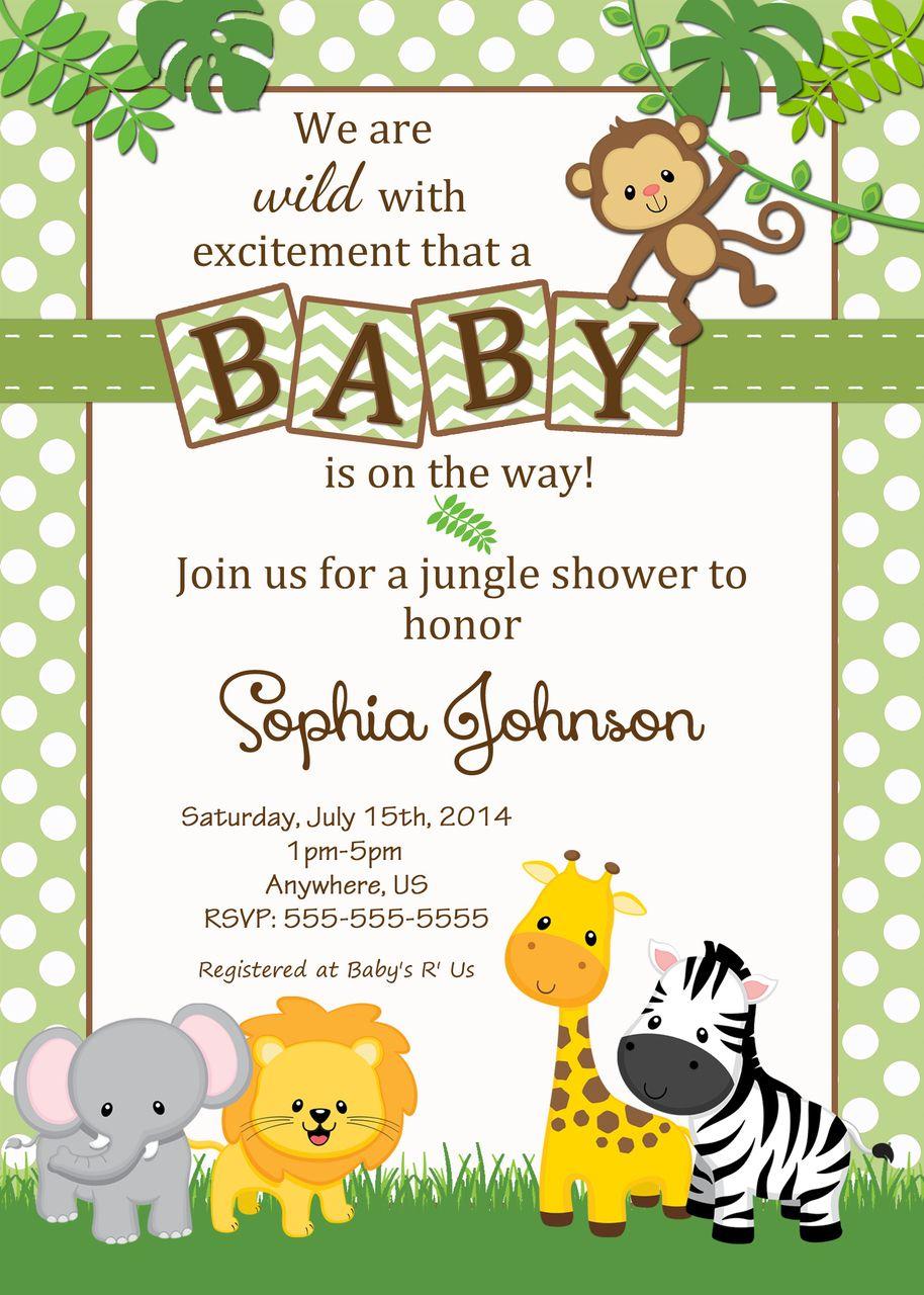 Free Safari Baby Shower Invitations - Google Search | Baby Shower - Free Printable Jungle Safari Baby Shower Invitations