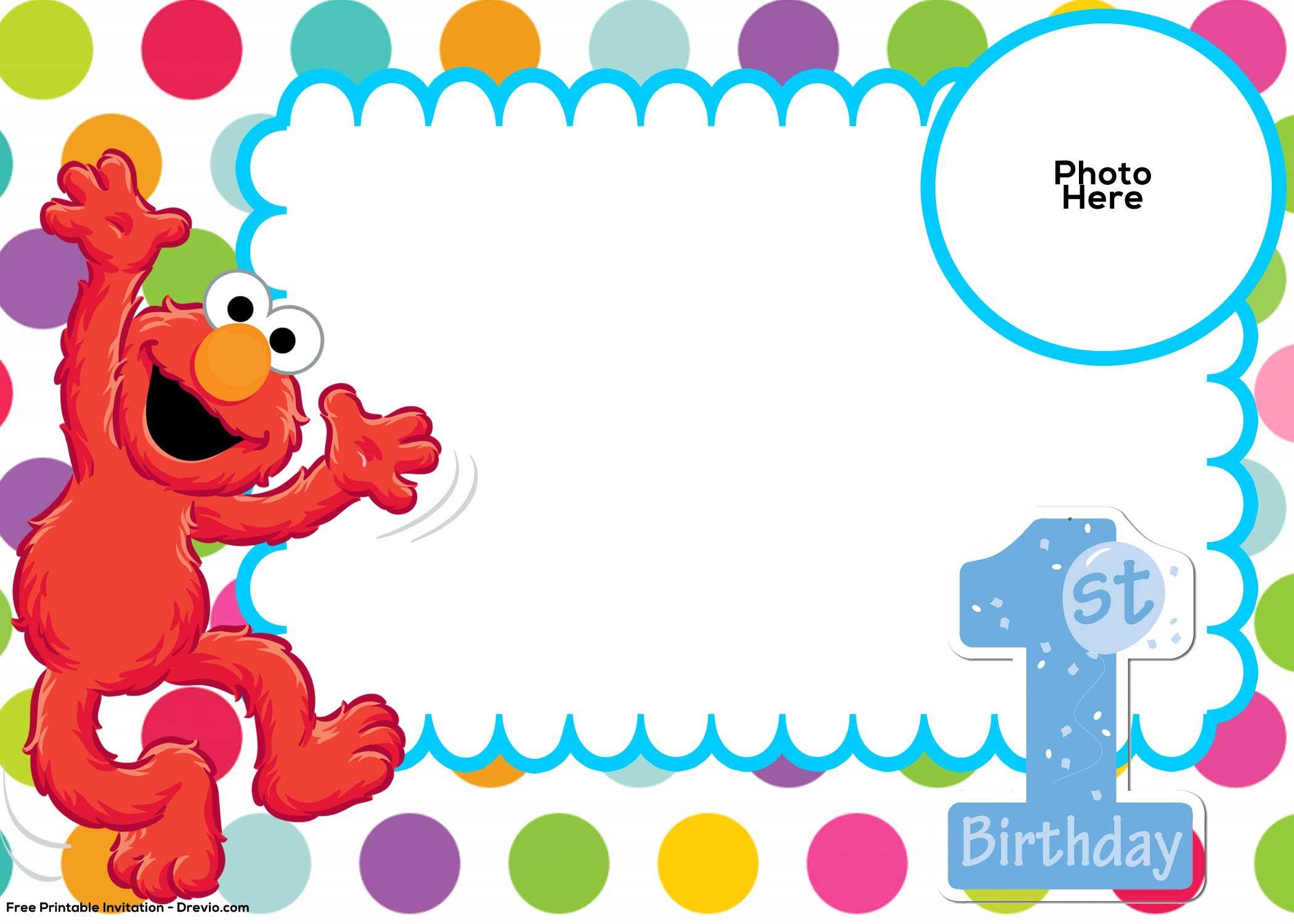 Free Sesame Street 1St Birthday Invitation Template   Drevio - Free Printable Sesame Street Cupcake Toppers