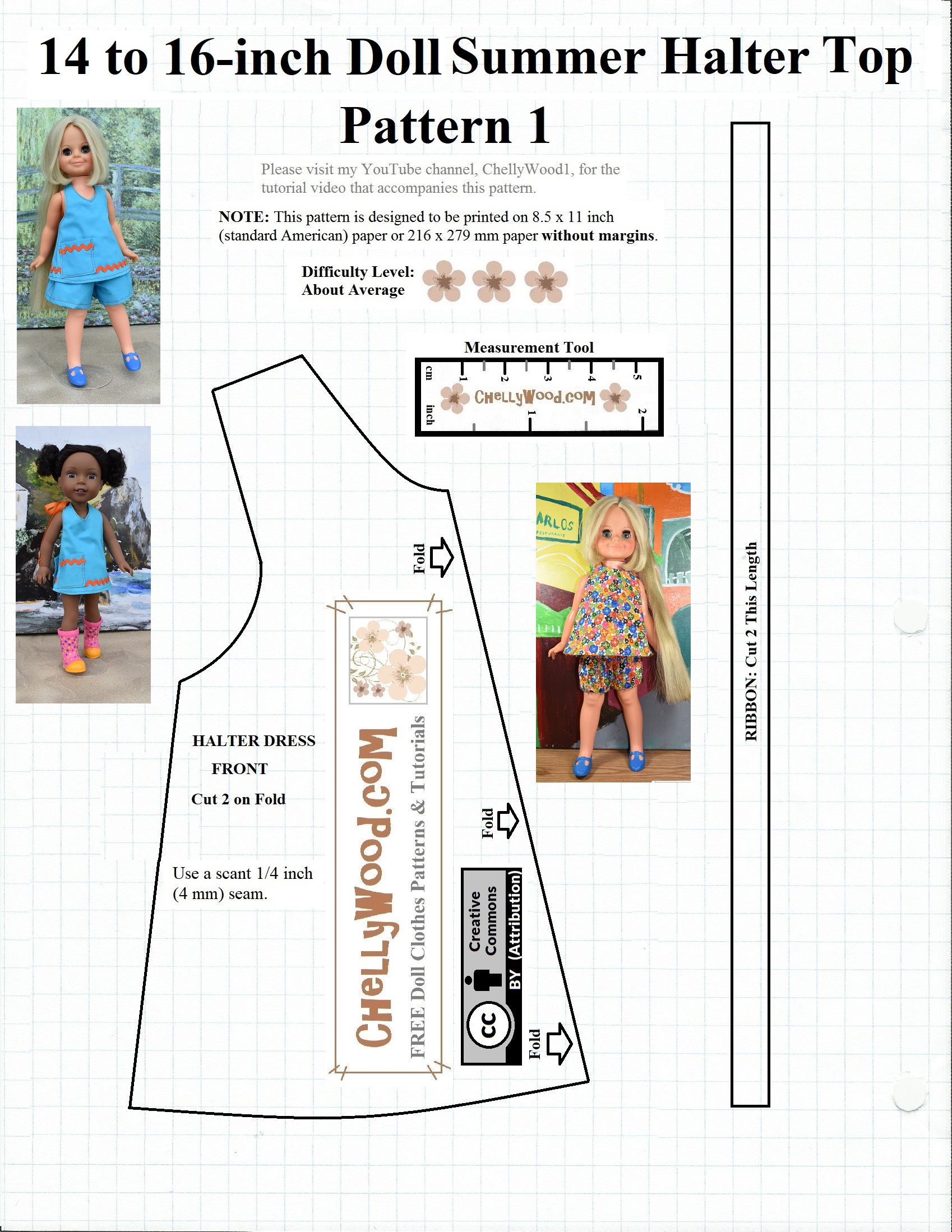 Free #sewing Pattern For 14″ (35 Cm) #dolls @ Chellywood #crafts - Free Printable Sewing Patterns