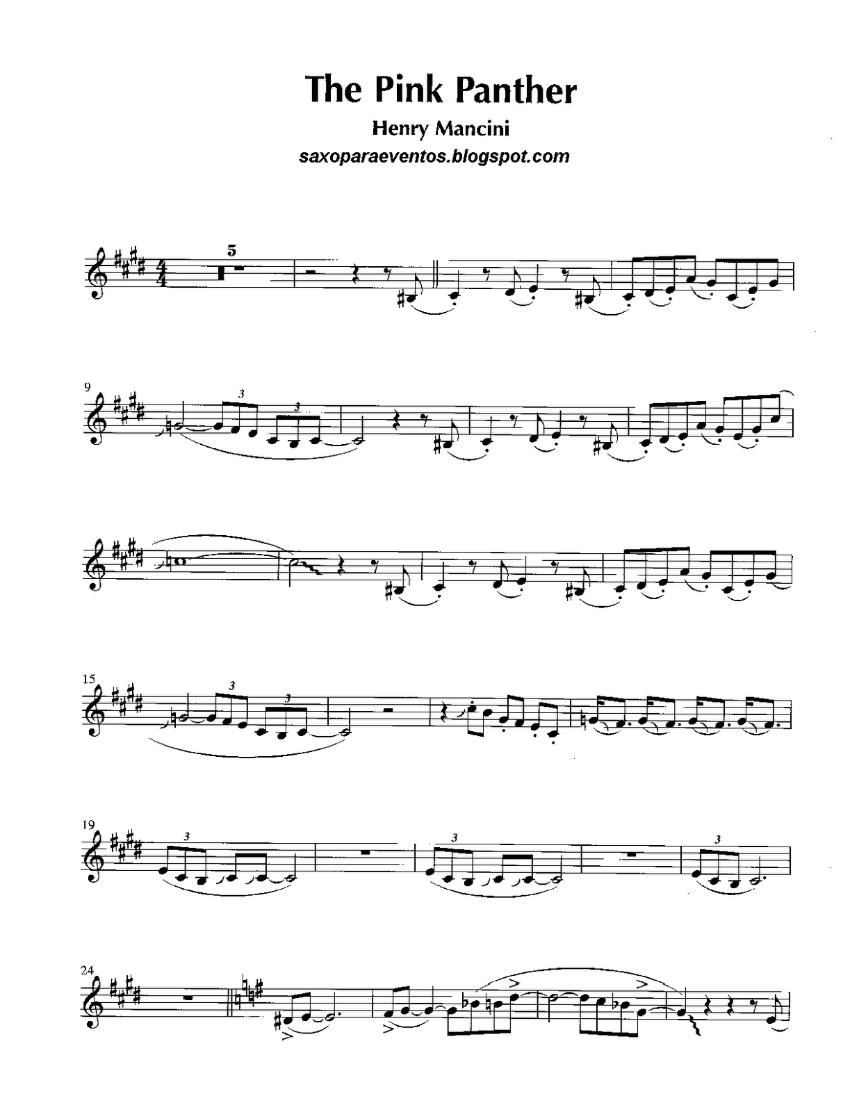 Free Sheet Music For Sax: Pink Panther - Henry Mancini Score And - Free Printable Trumpet Sheet Music Pink Panther