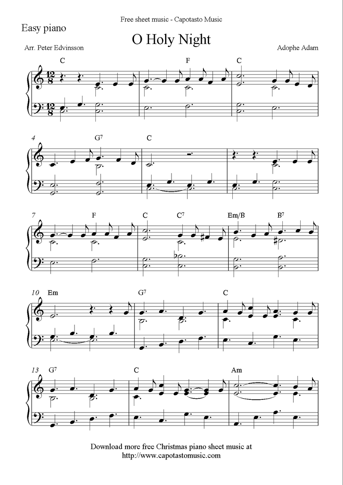 Free Sheet Music Scores: Free Easy Christmas Piano Sheet Music, O - Christmas Piano Sheet Music Easy Free Printable