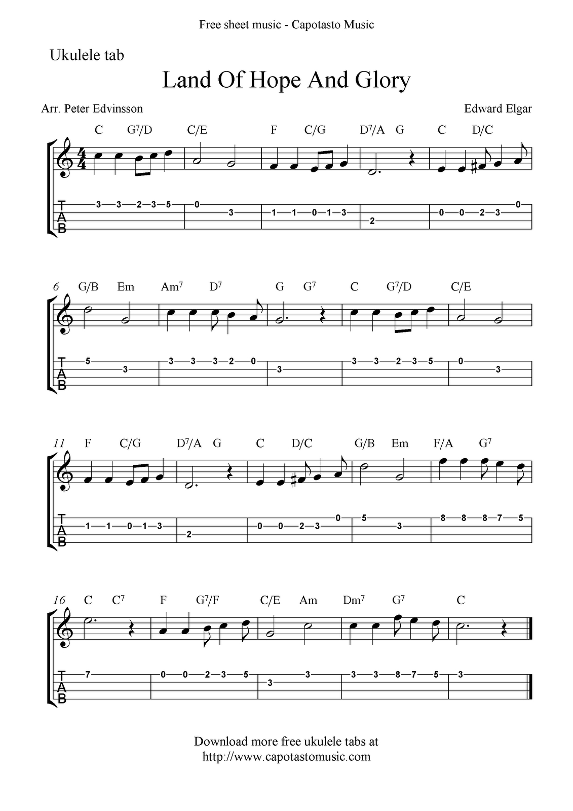 Free Sheet Music Scores: Land Of Hope And Glory (Pomp And - Free Printable Sheet Music Pomp And Circumstance