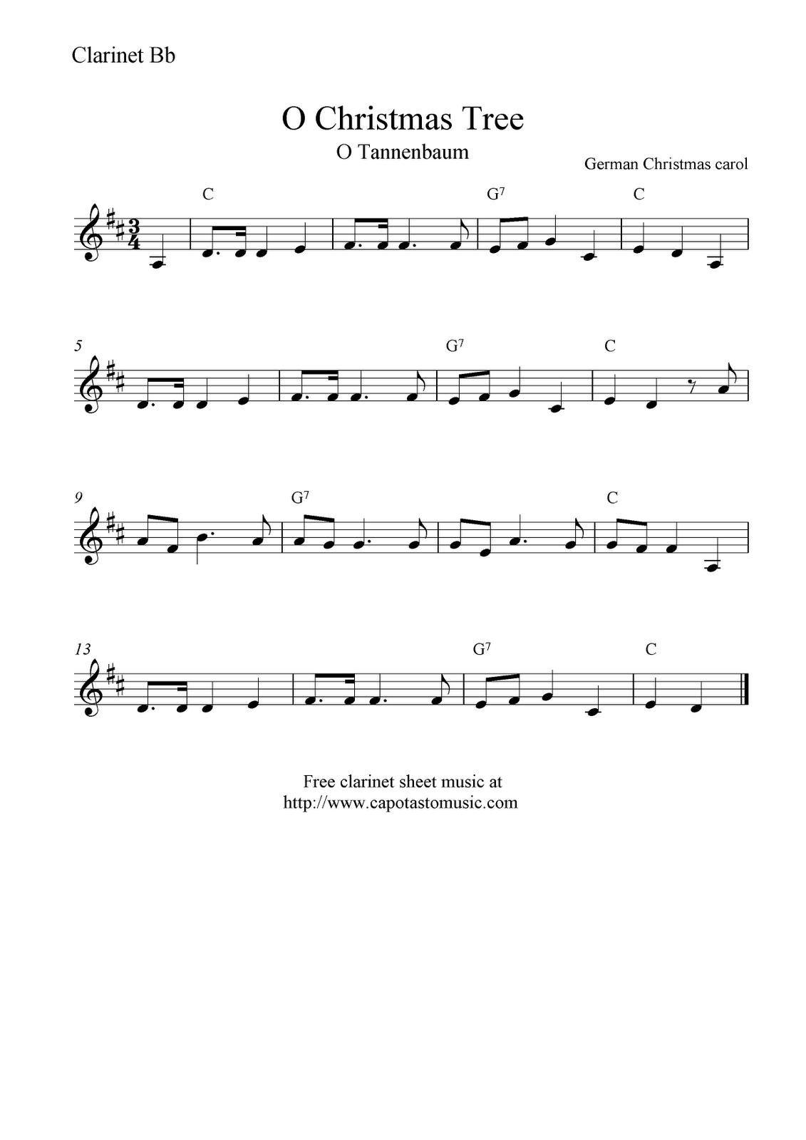 Free Sheet Music Scores: O Christmas Tree (O Tannenbaum), Free - Free Printable Christmas Sheet Music For Clarinet