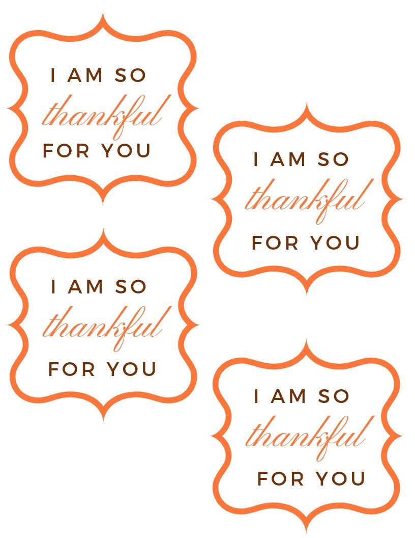 """Free """"so Thankful For You"""" Printable Gift Tag For Thanksgiving - Thankful For You Free Printable Tags"""