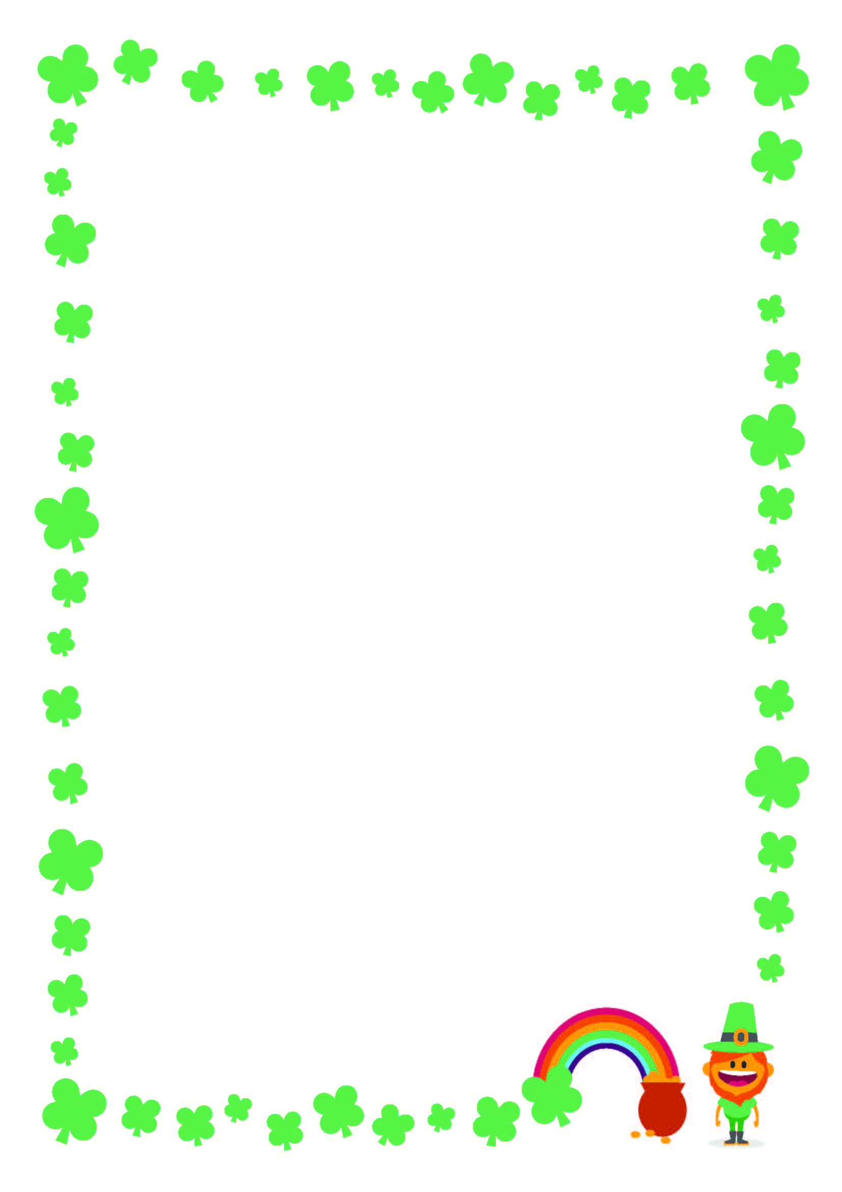 Free St. Patrick's Day Printable Writing Paper With Clover Border - Writing Borders Free Printable