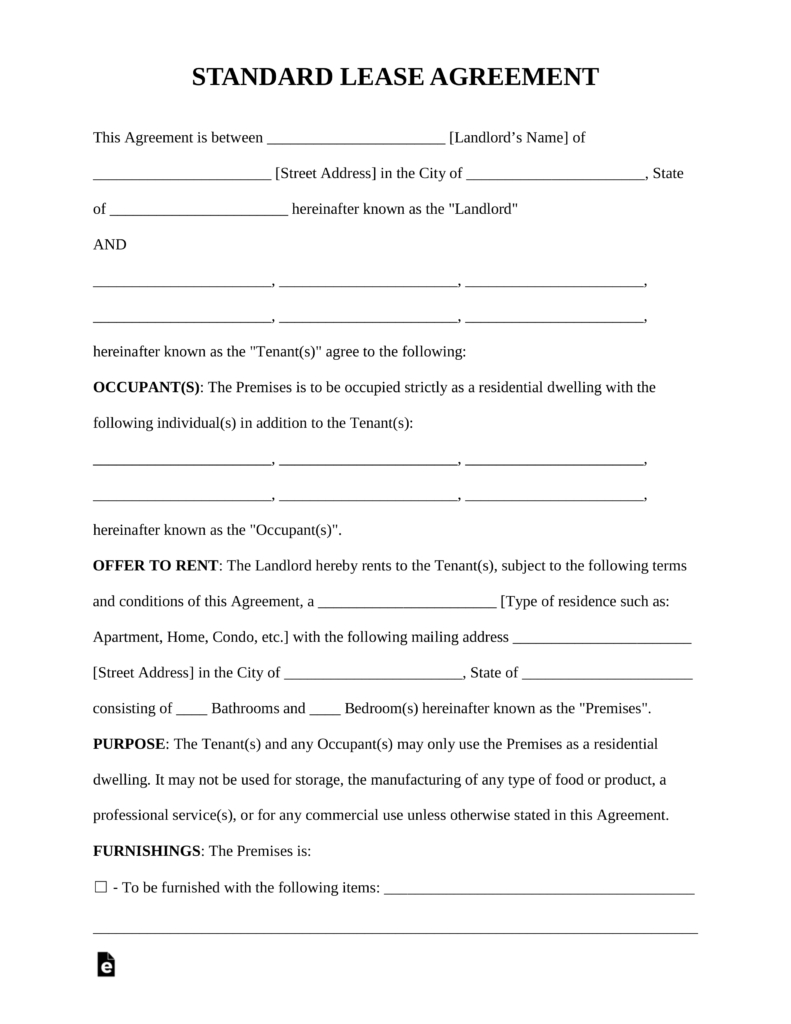 Free Standard Residential Lease Agreement Template - Pdf | Word - Free Printable Basic Rental Agreement