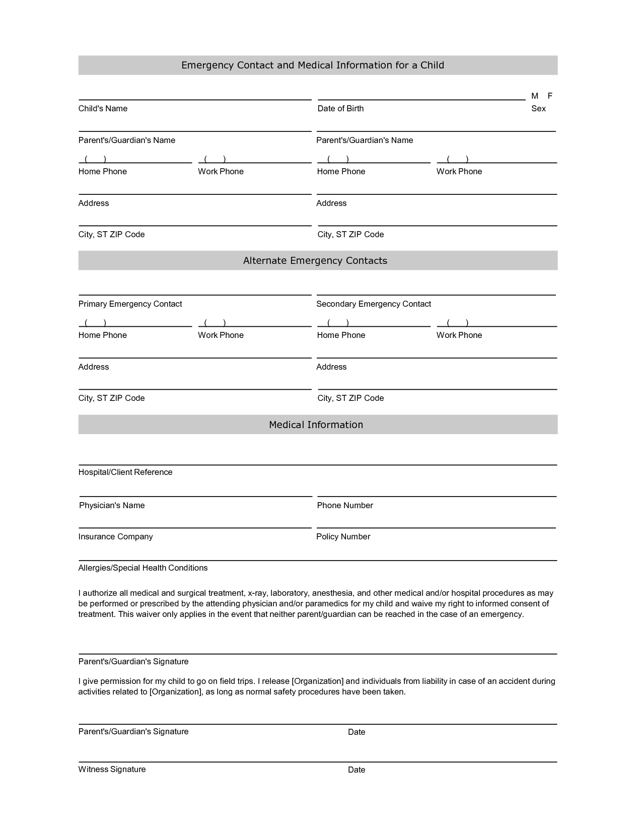 Free Student Information Sheet Template | Student Emergency Contact - Free Printable Medical Forms Kit