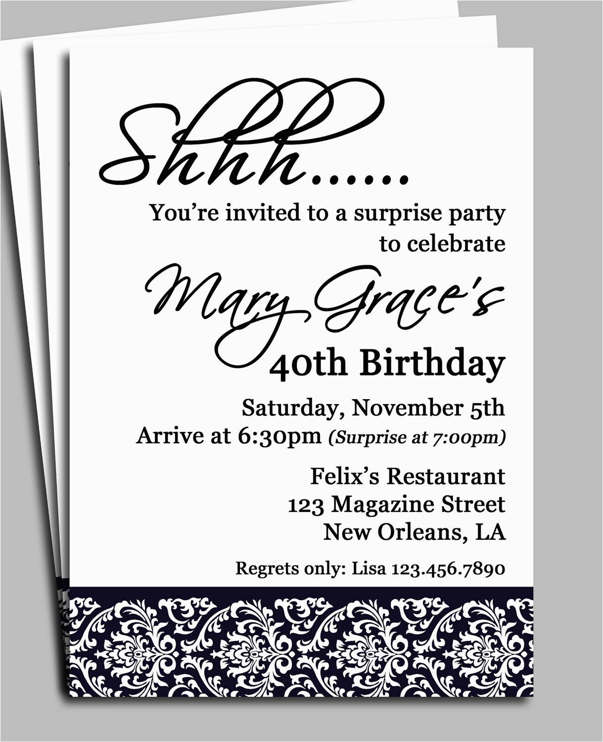 Free Surprise Birthday Party Invitations Black Damask Surprise Party - Free Printable Surprise 40Th Birthday Party Invitations