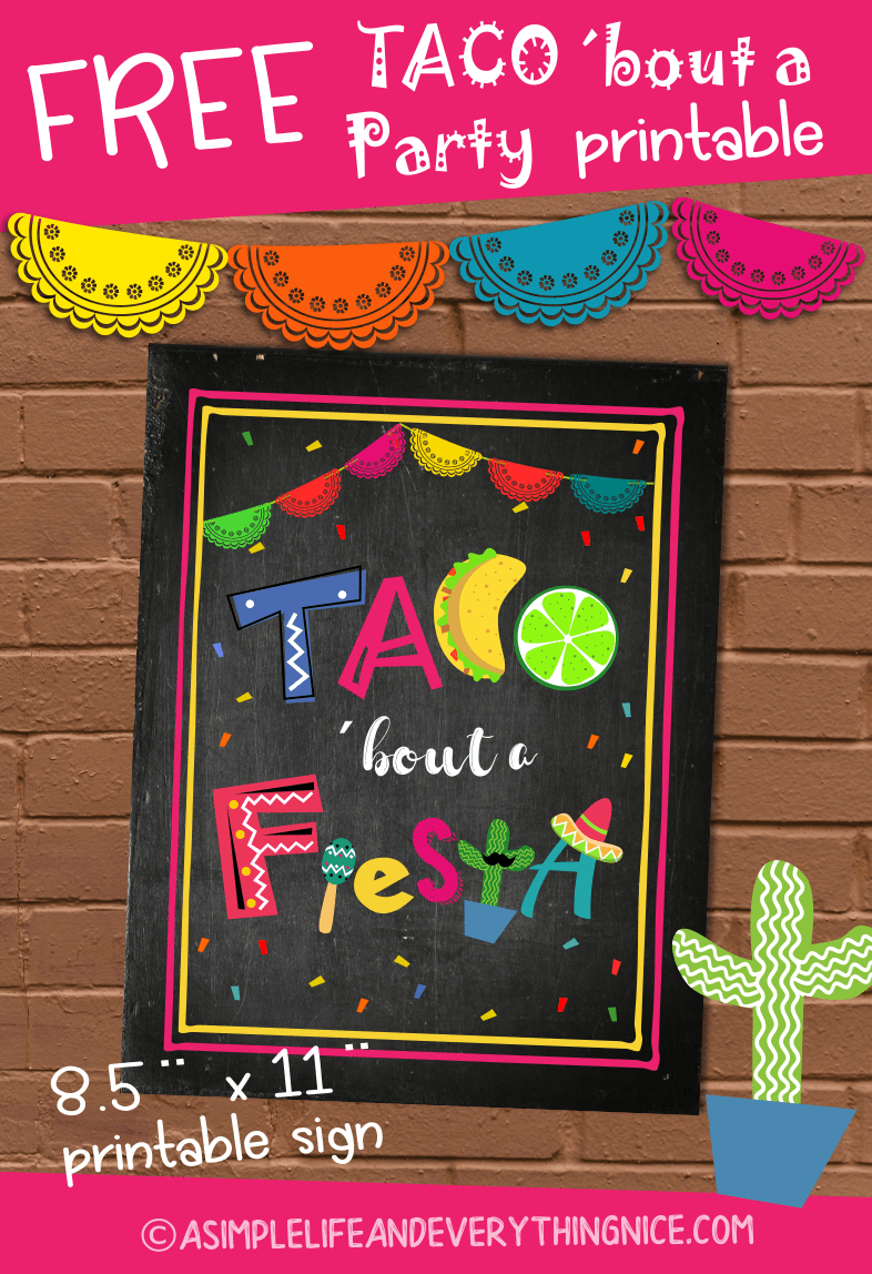 Free Taco 'bout A Fiesta Printable Sign   Fiesta   Free Taco, Taco - Free Printable Taco Bar Signs