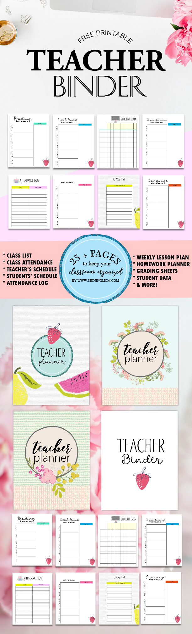 Free Teacher Binder Printables: Over 25 Pretty Planning Templates! - Free Printable Teacher Planner Pages