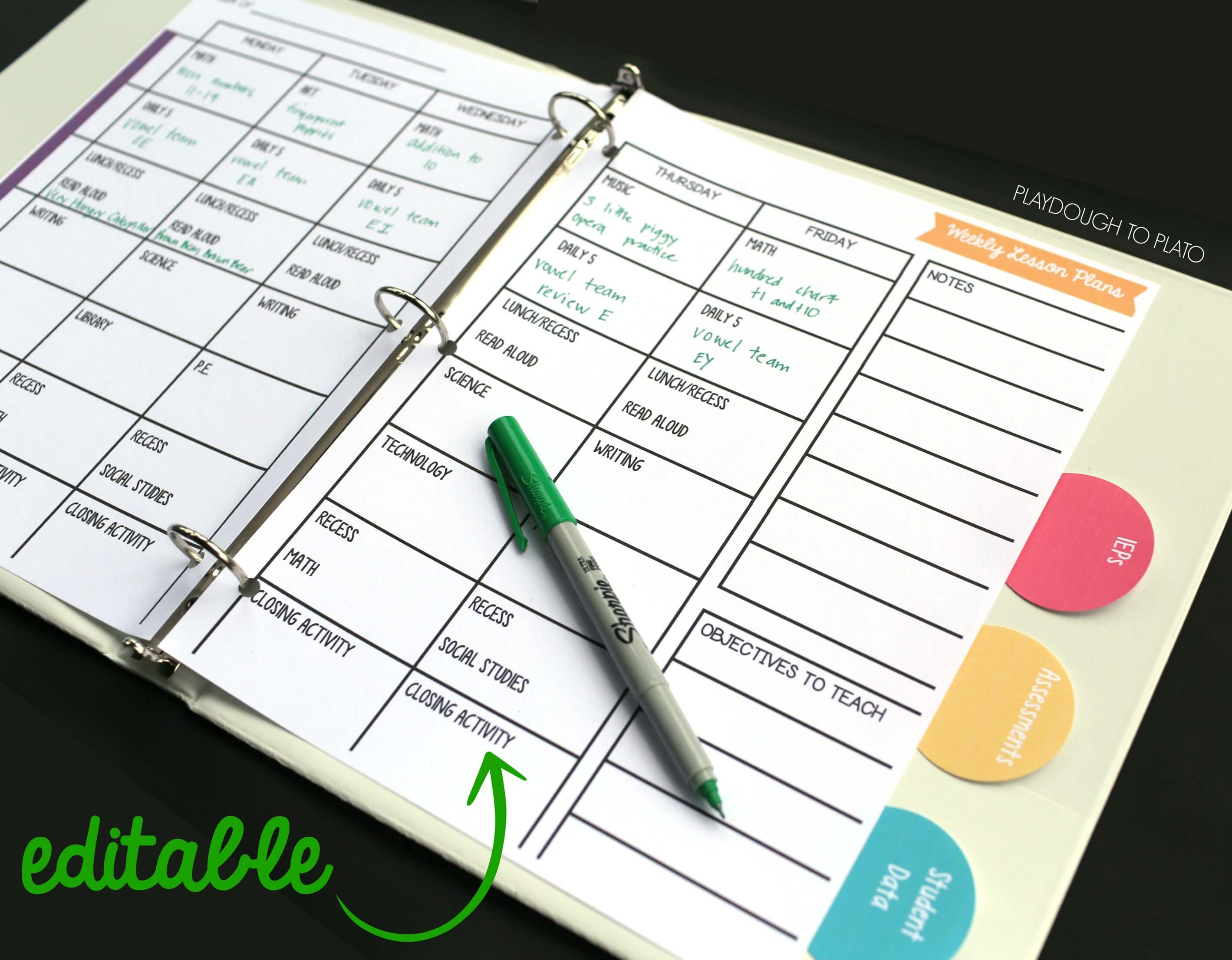 Free Teacher Planner - Playdough To Plato - Free Printable Teacher Planner