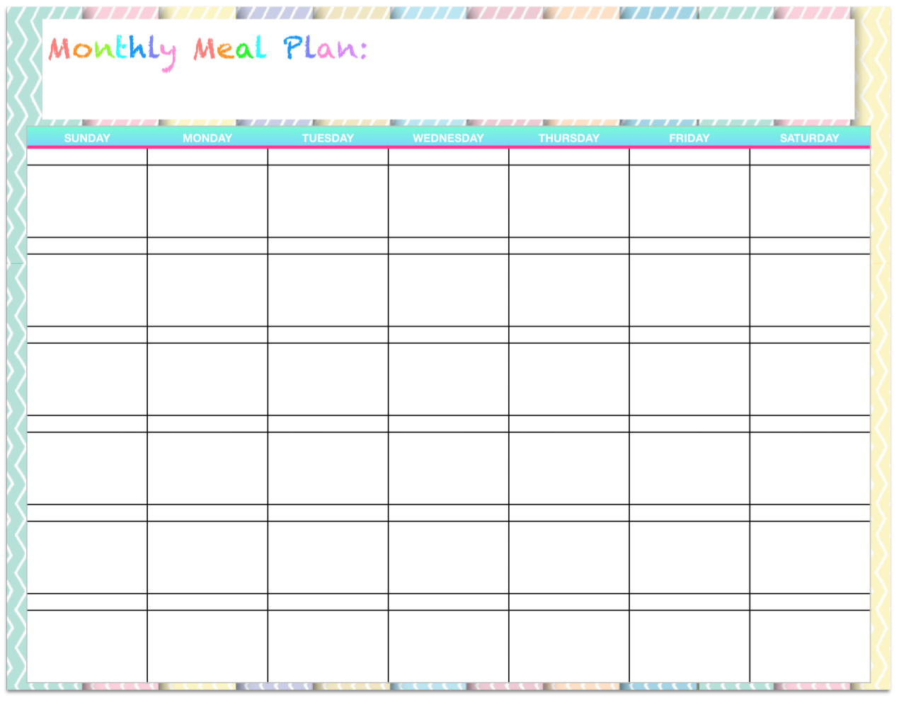 Free Templates: Monthly Menu Planners ~ The Housewife Modern - Free Printable Monthly Meal Planner