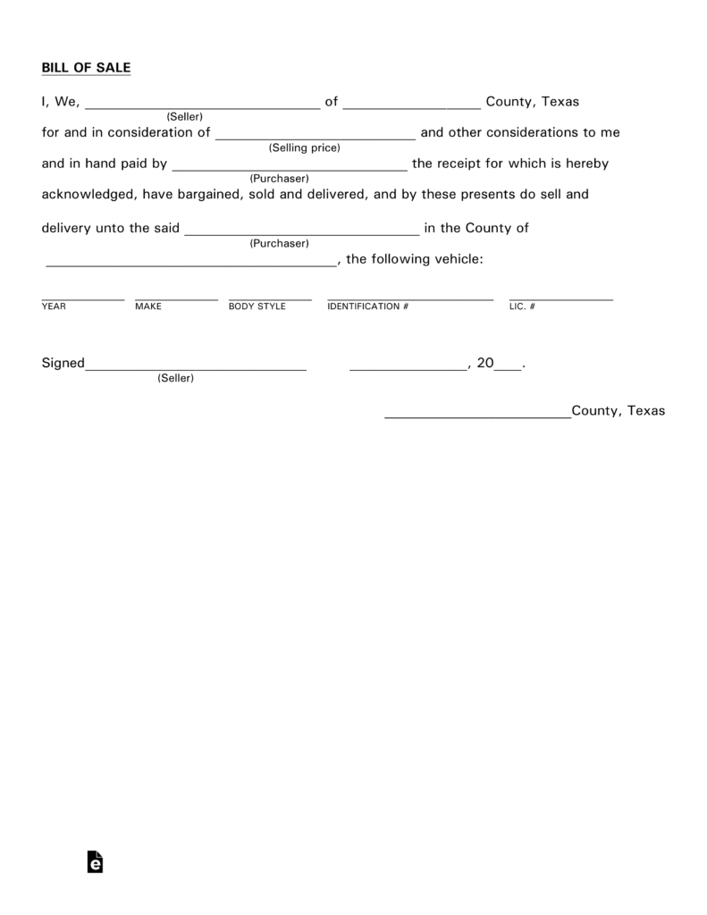 Free Texas Motor Vehicle Bill Of Sale Form - Pdf | Eforms – Free - Free Printable Texas Bill Of Sale Form