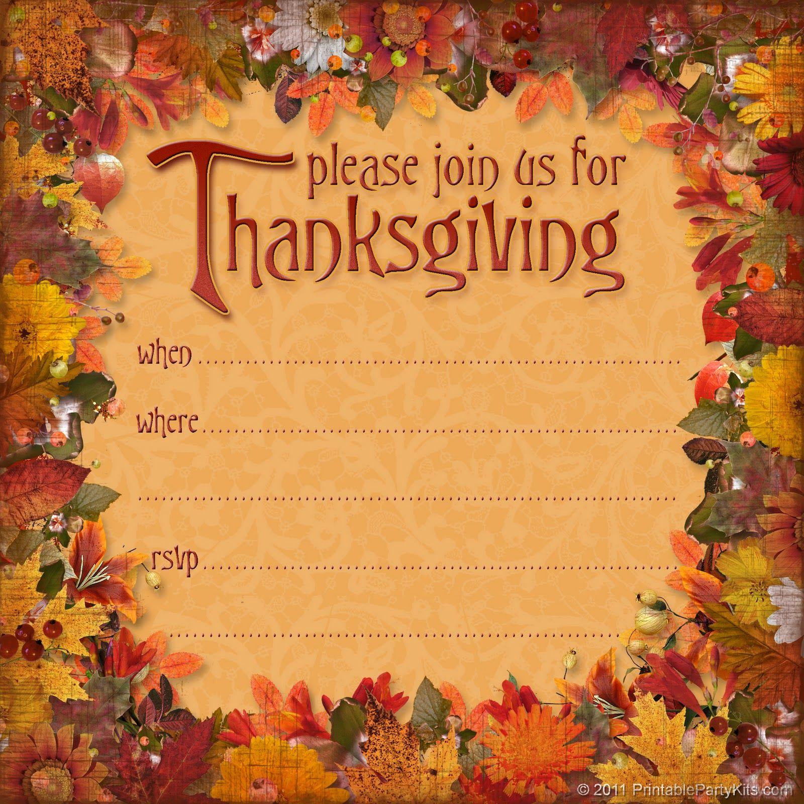 Free Thanksgiving Dinner Invitation   Thanksgiving   Thanksgiving - Free Printable Thanksgiving Invitations