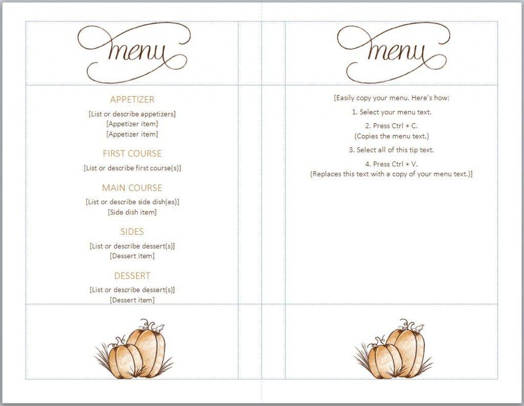 Free Thanksgiving Menu Template | Full Serive Menu | Pinterest - Free Printable Thanksgiving Menu Template