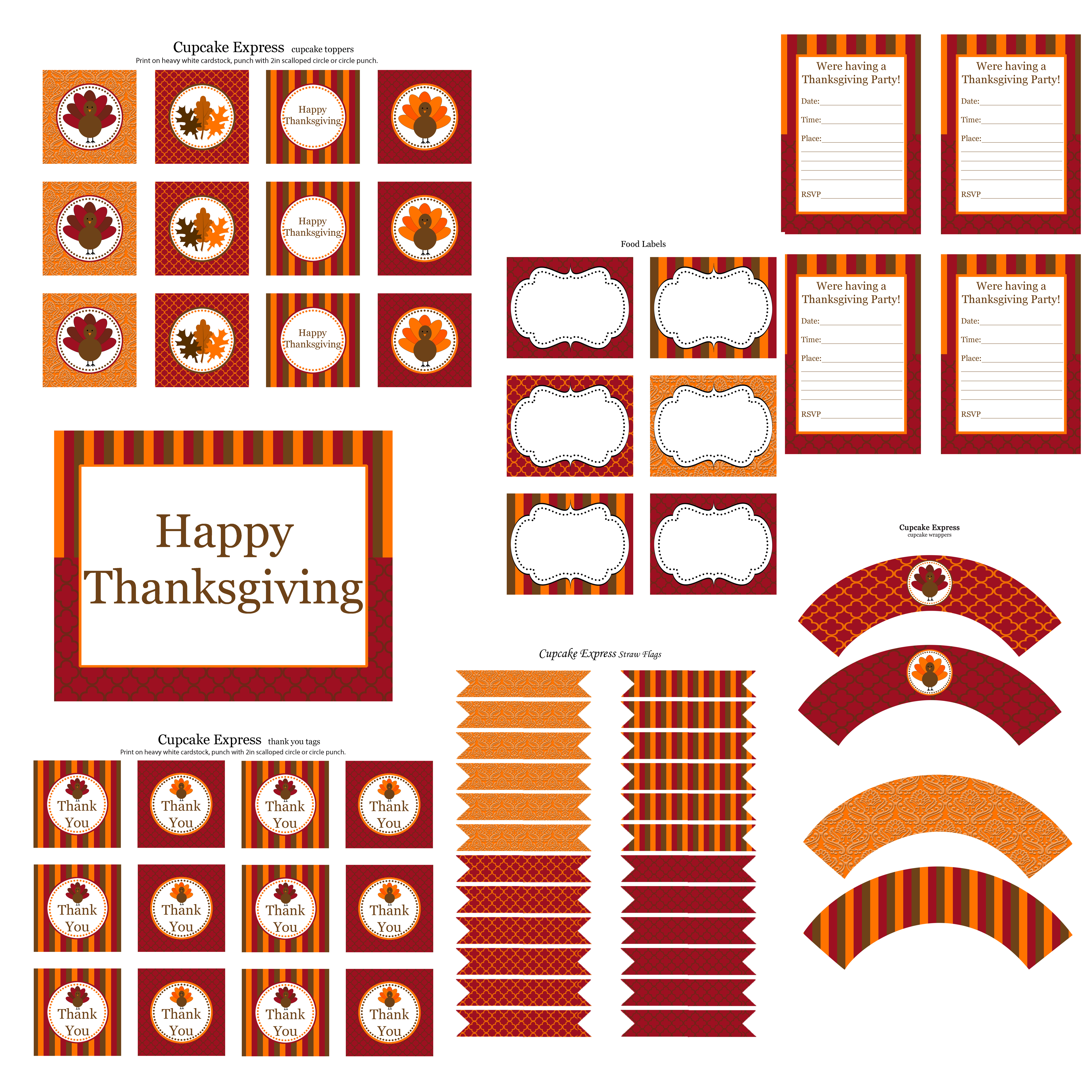 Free Thanksgiving Party Printables From Cupcake Express | Catch My Party - Thanksgiving Cupcake Toppers Printable Free