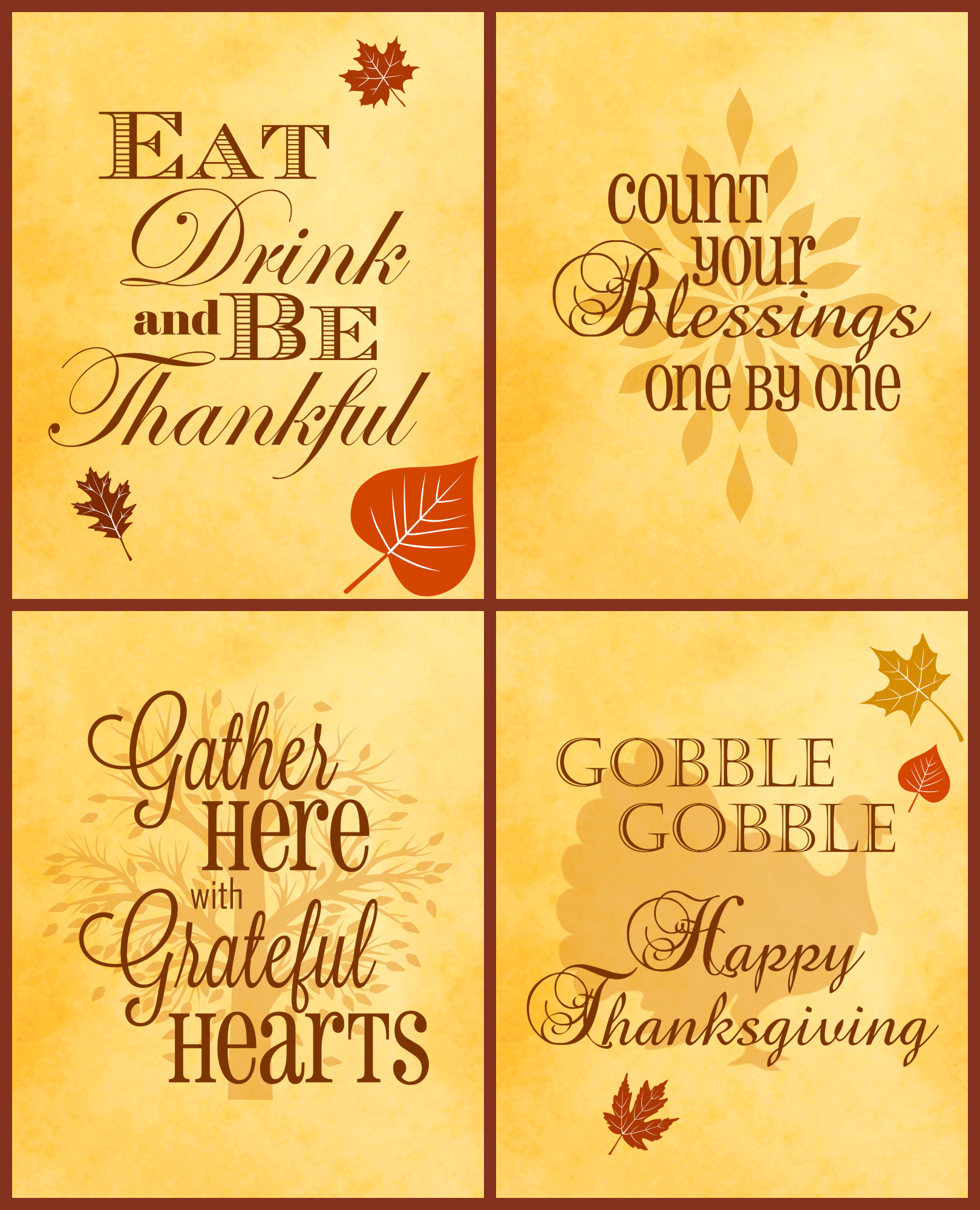 Free Thanksgiving Printables 4 Pack | Serendipity And Spice - Free Printable Thanksgiving Images
