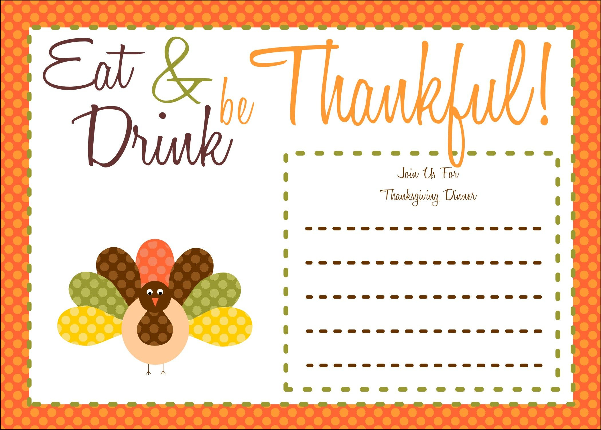 Free Thanksgiving Printables From The Party Bakery | Free Printables - Free Printable Thanksgiving Invitation Templates
