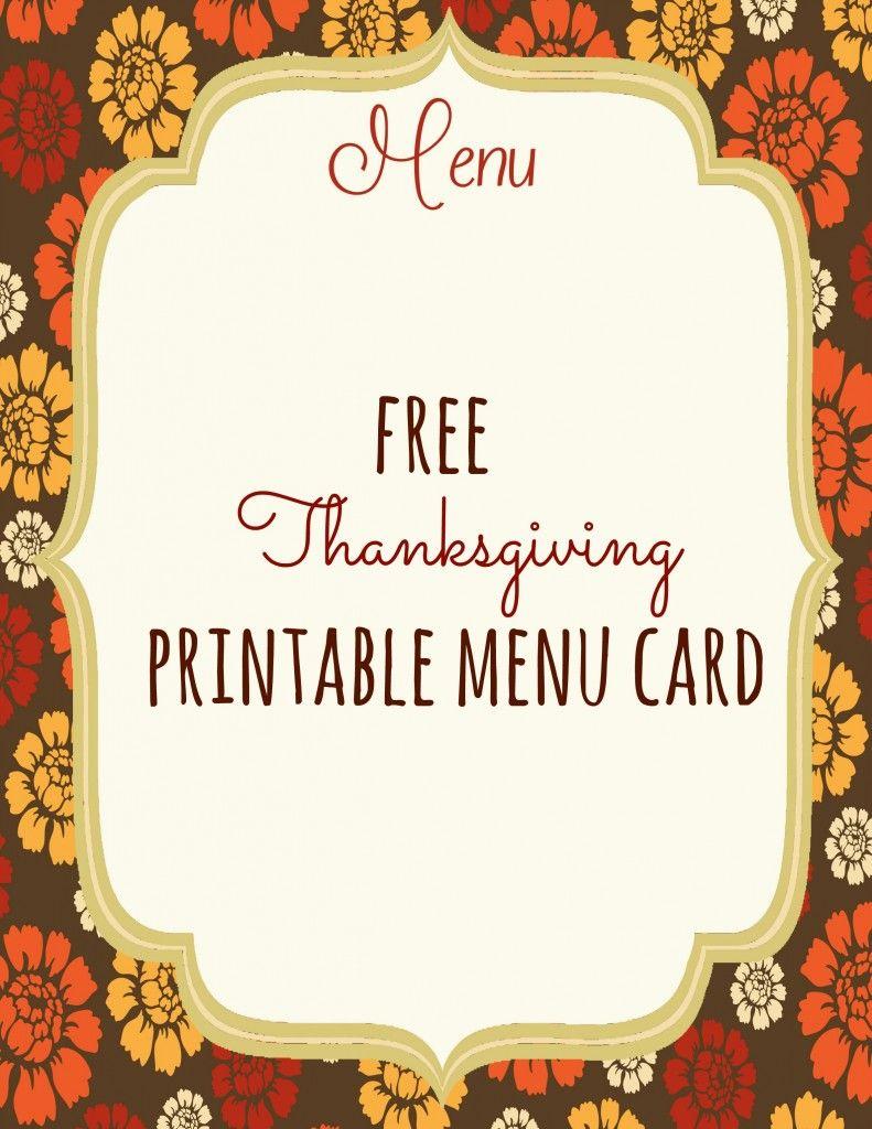 Free Thanksgiving Printables | Thanksgiving | Pinterest - Free Printable Thanksgiving Menu Template